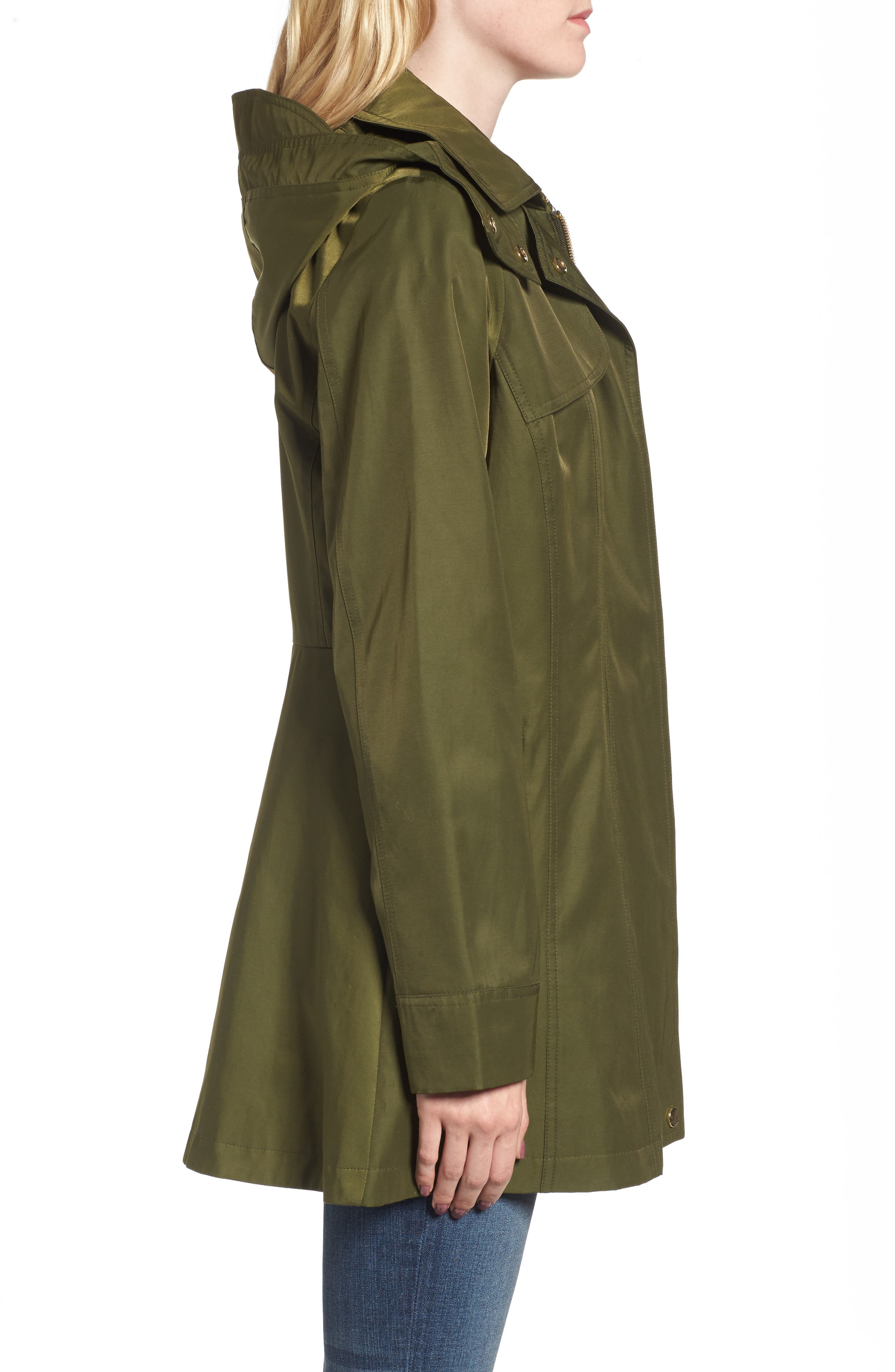 Fit & Flare Anorak Jacket,                             Alternate thumbnail 3, color,                             Olive