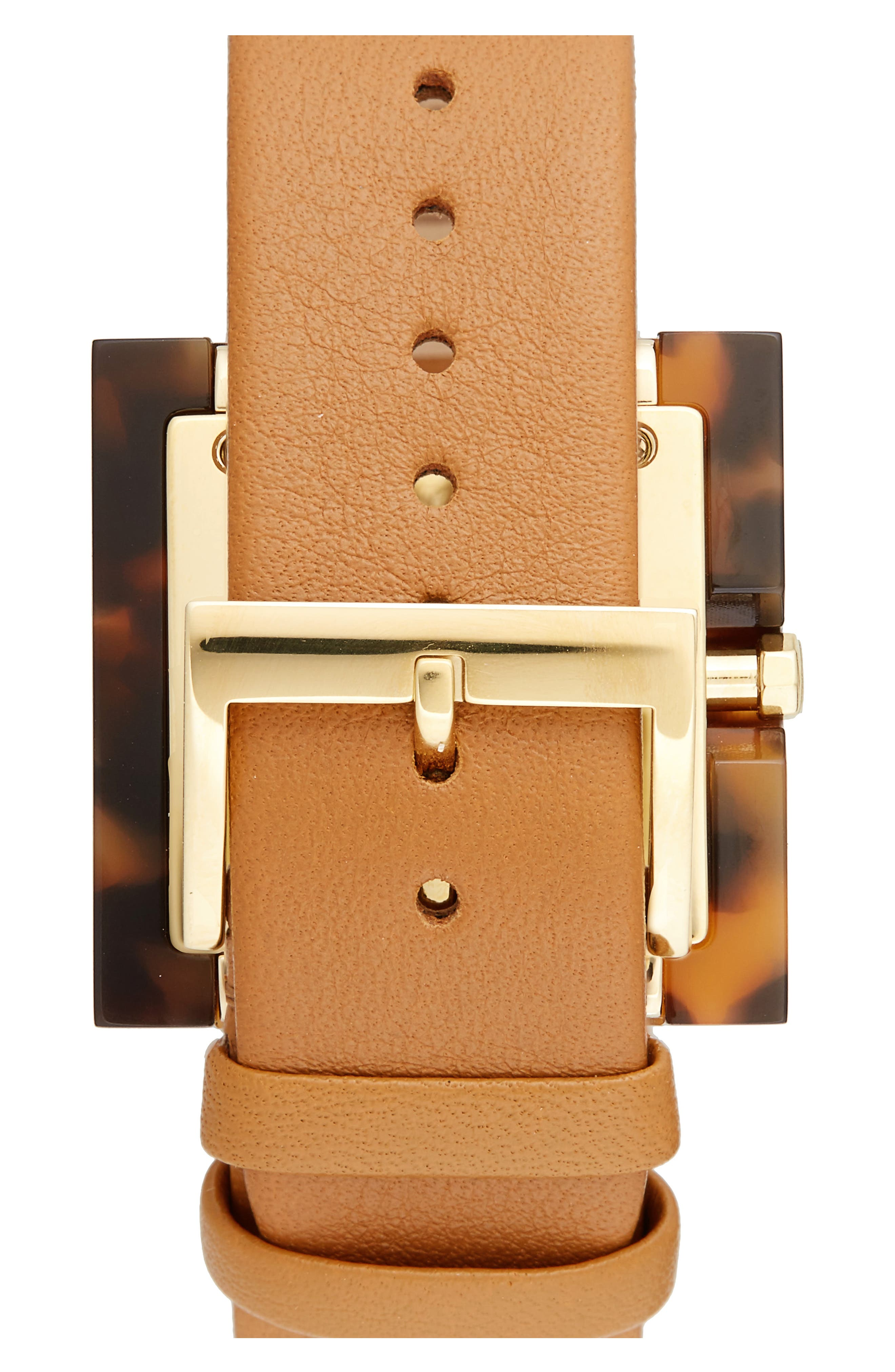 Alternate Image 2  - Tory Burch Sedgwick Square Leather Strap Watch, 33mm x 33mm