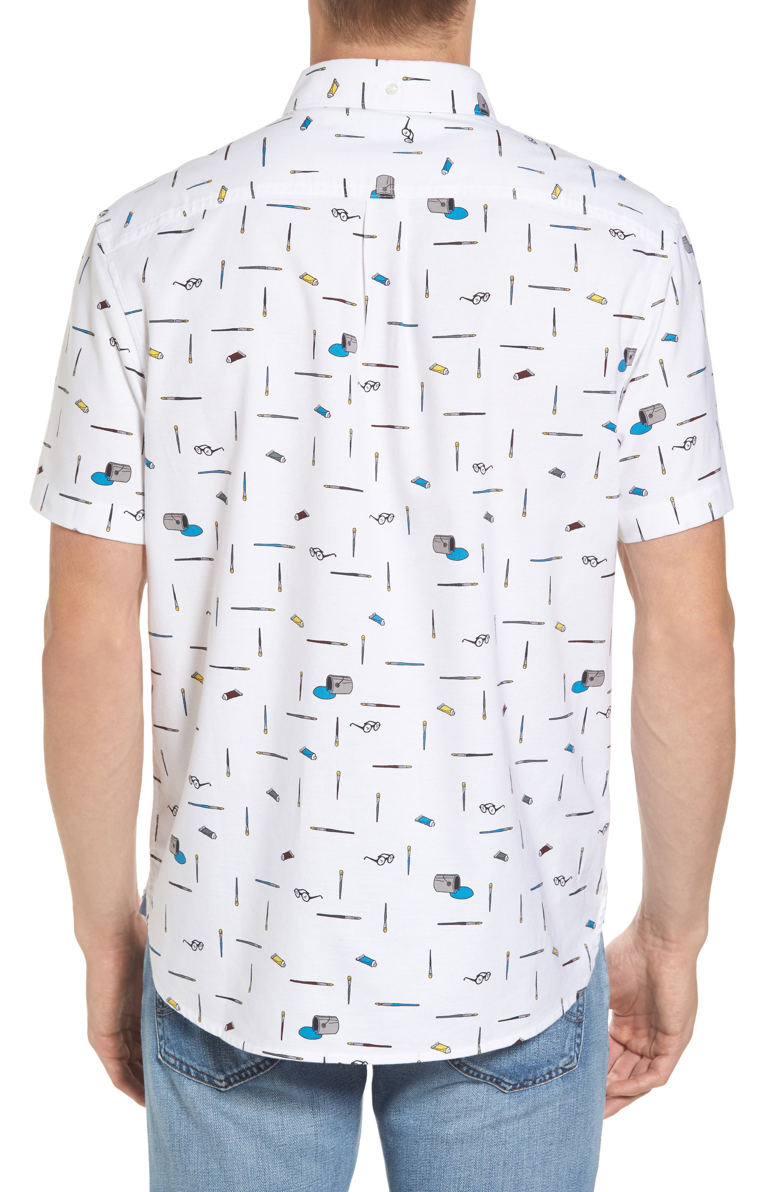 Paintbrush Pattern Woven Shirt,                             Alternate thumbnail 2, color,                             Bright White