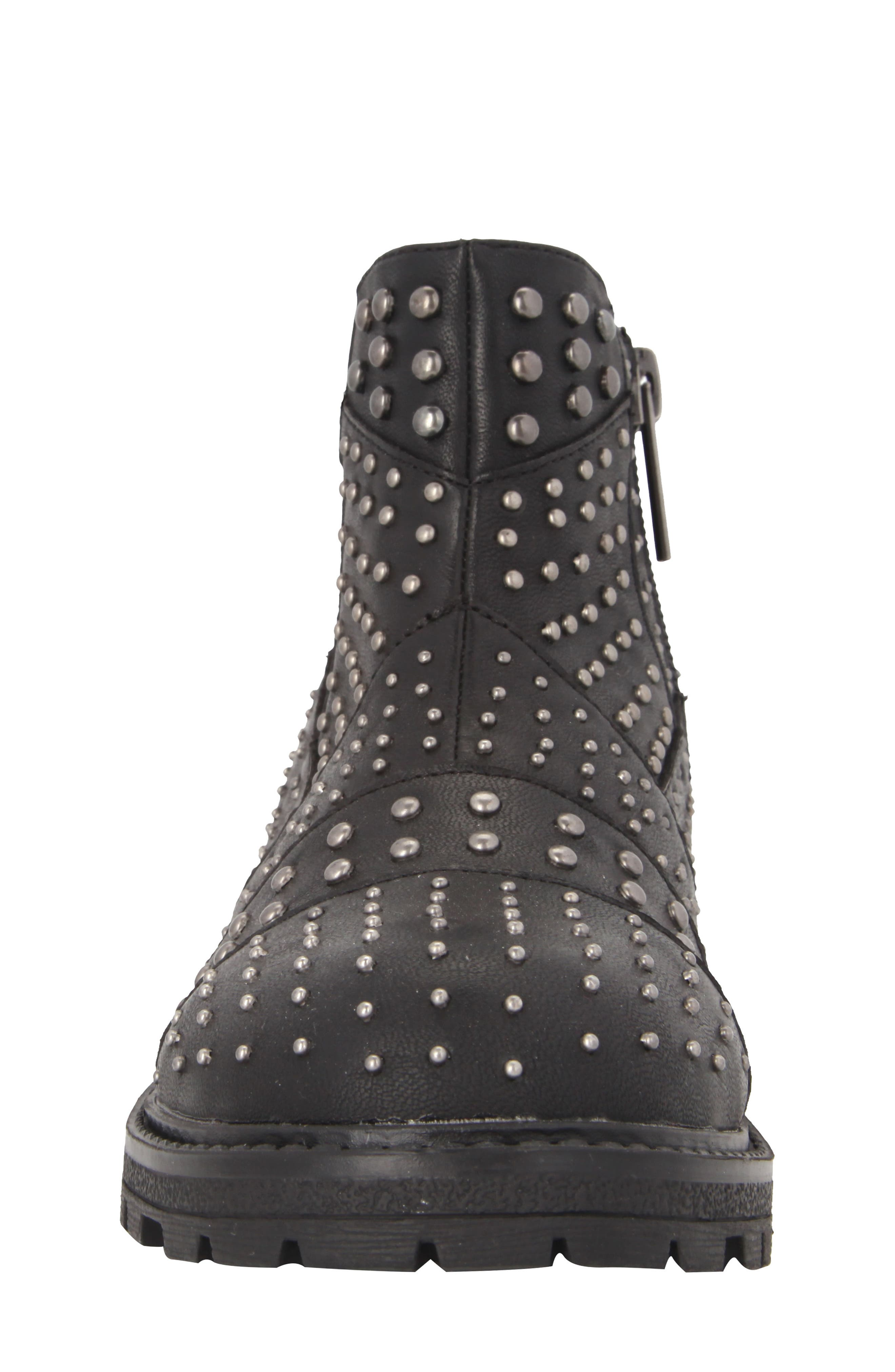 Dexy Studded Boot,                             Alternate thumbnail 4, color,                             Black Tumbled Leather