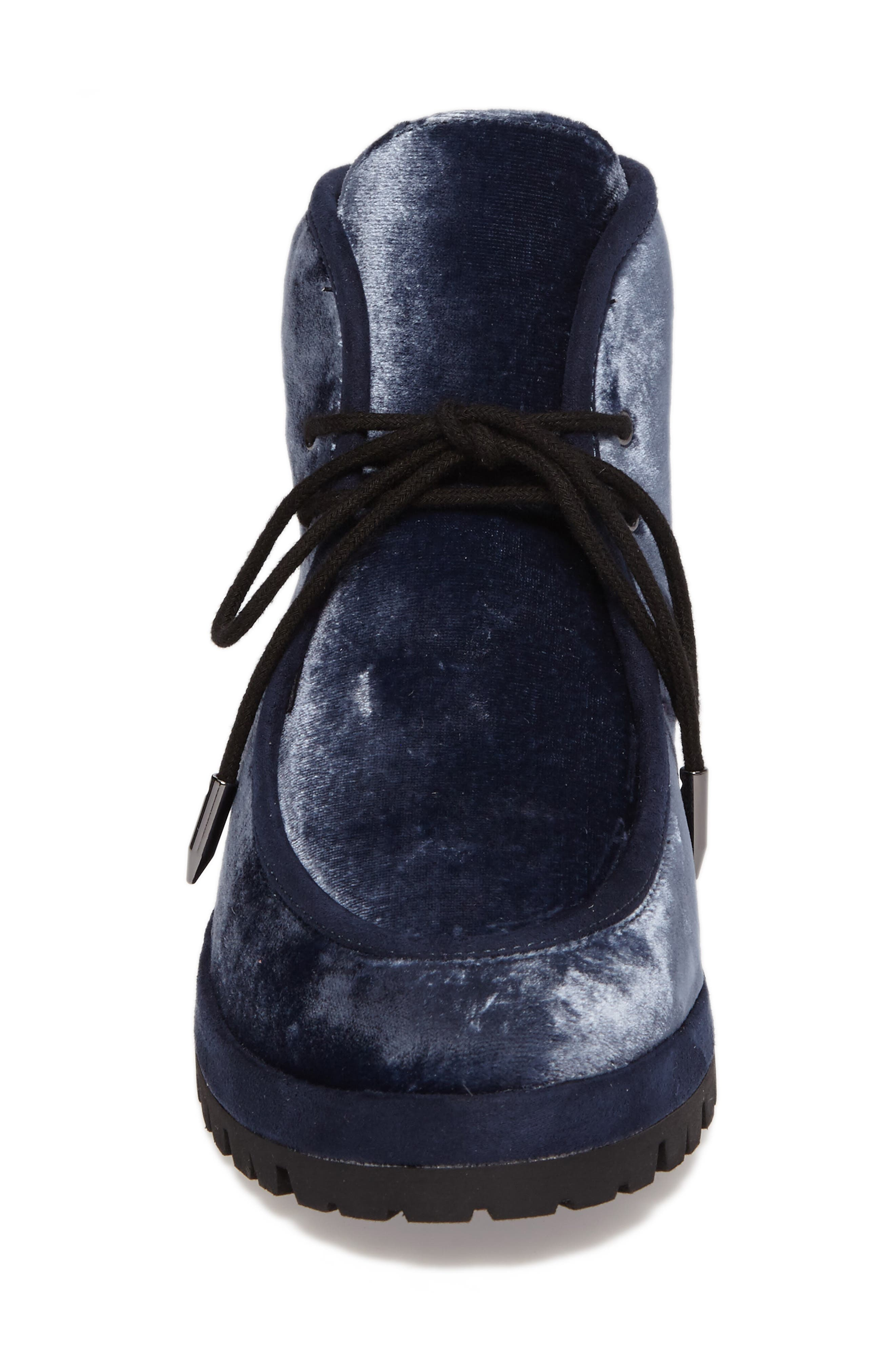Demi Lace-Up Bootie,                             Alternate thumbnail 4, color,                             Midnight Navy Velvet