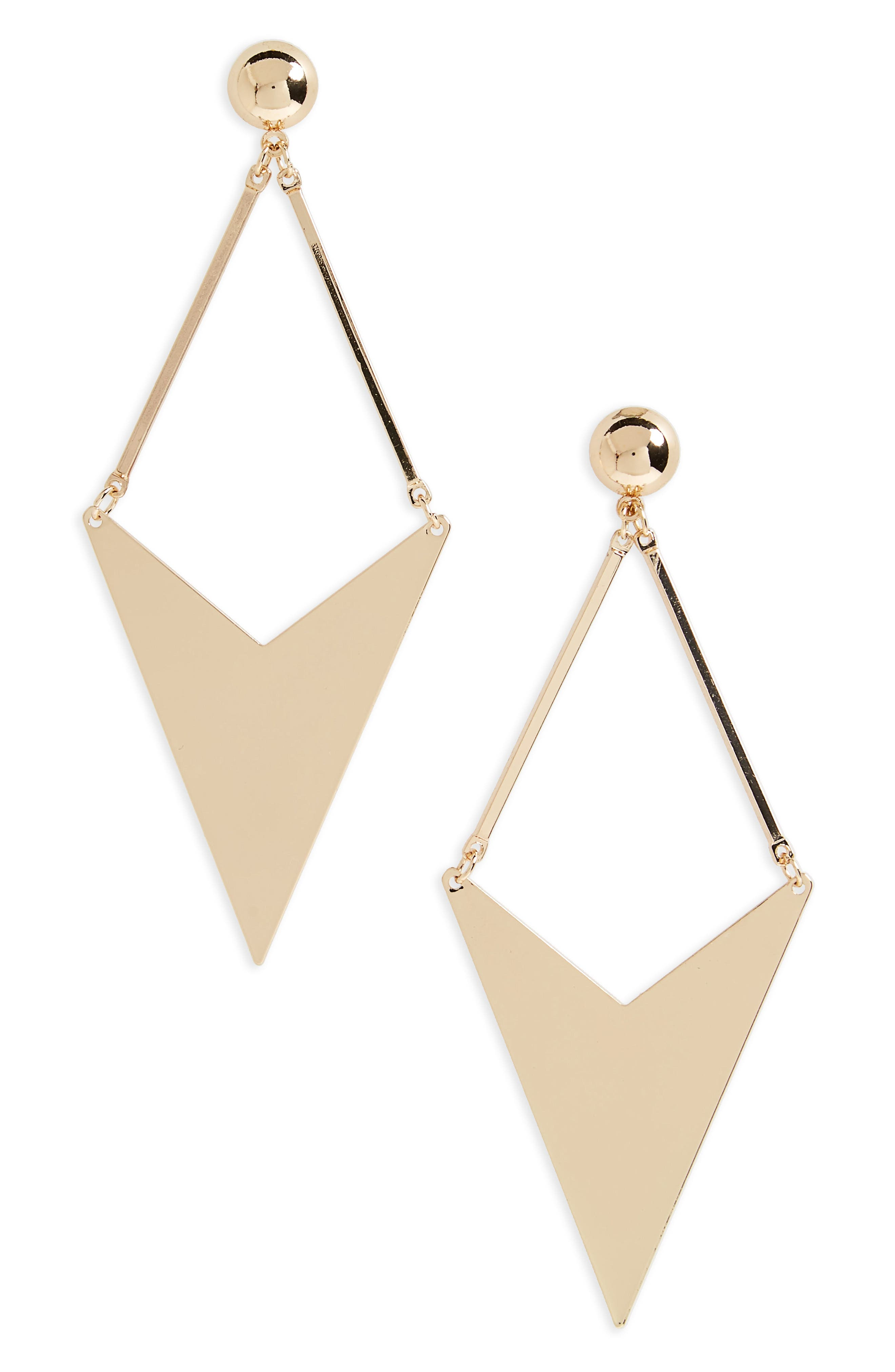 Large Kite Earrings,                         Main,                         color, Gold