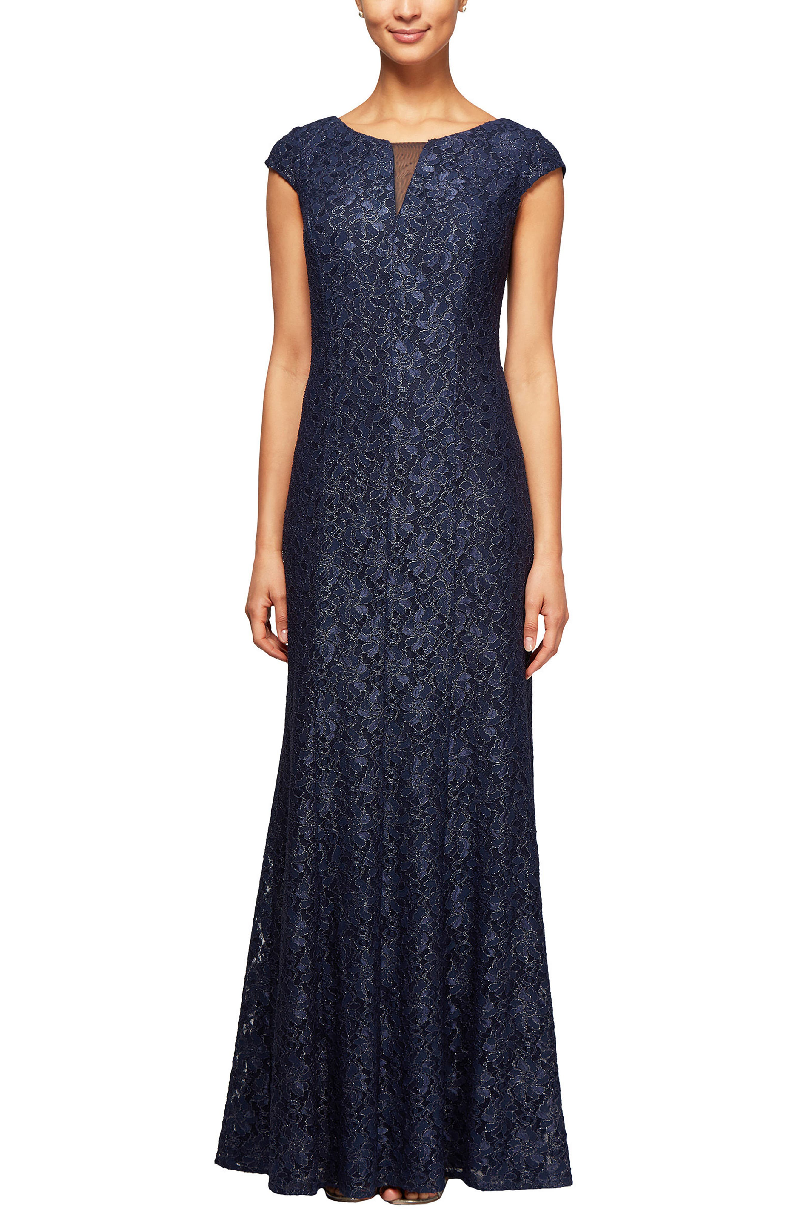 Metallic Lace A-Line Gown,                         Main,                         color, Navy/ Silver