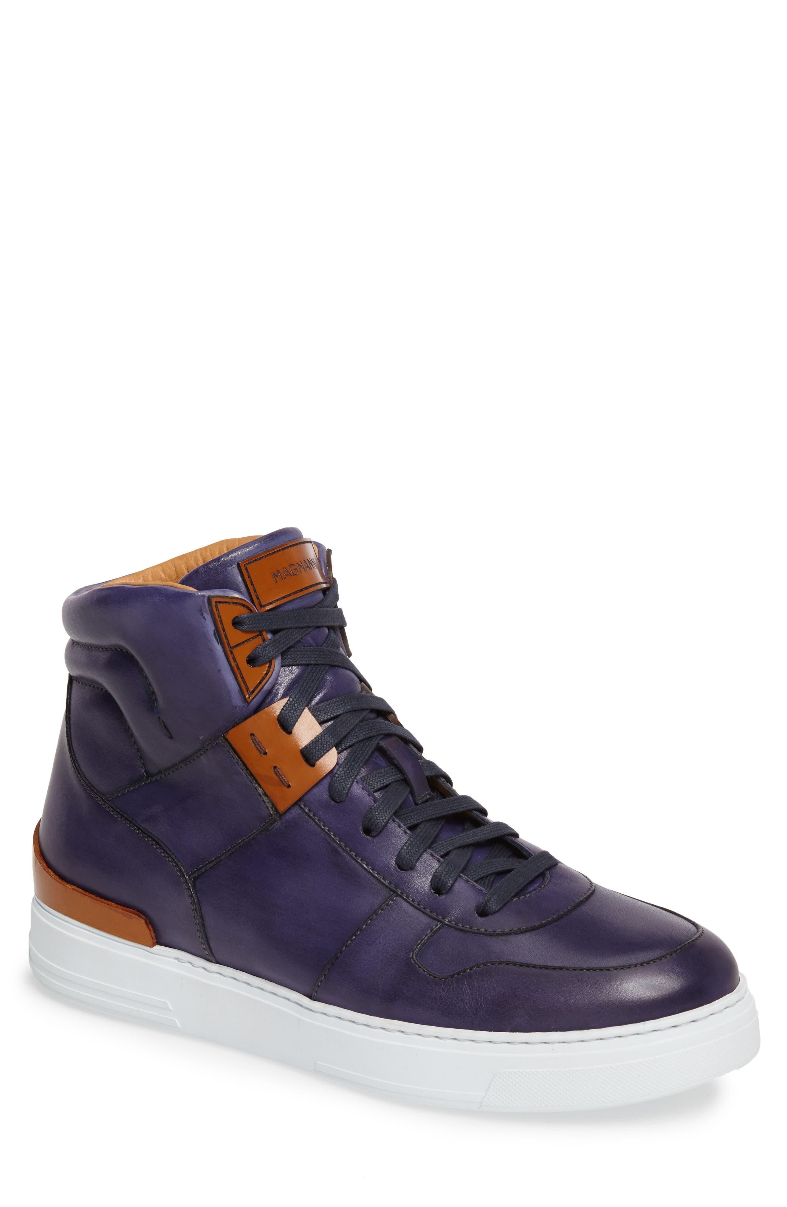 Endo Hi Sneaker,                         Main,                         color, Navy Leather