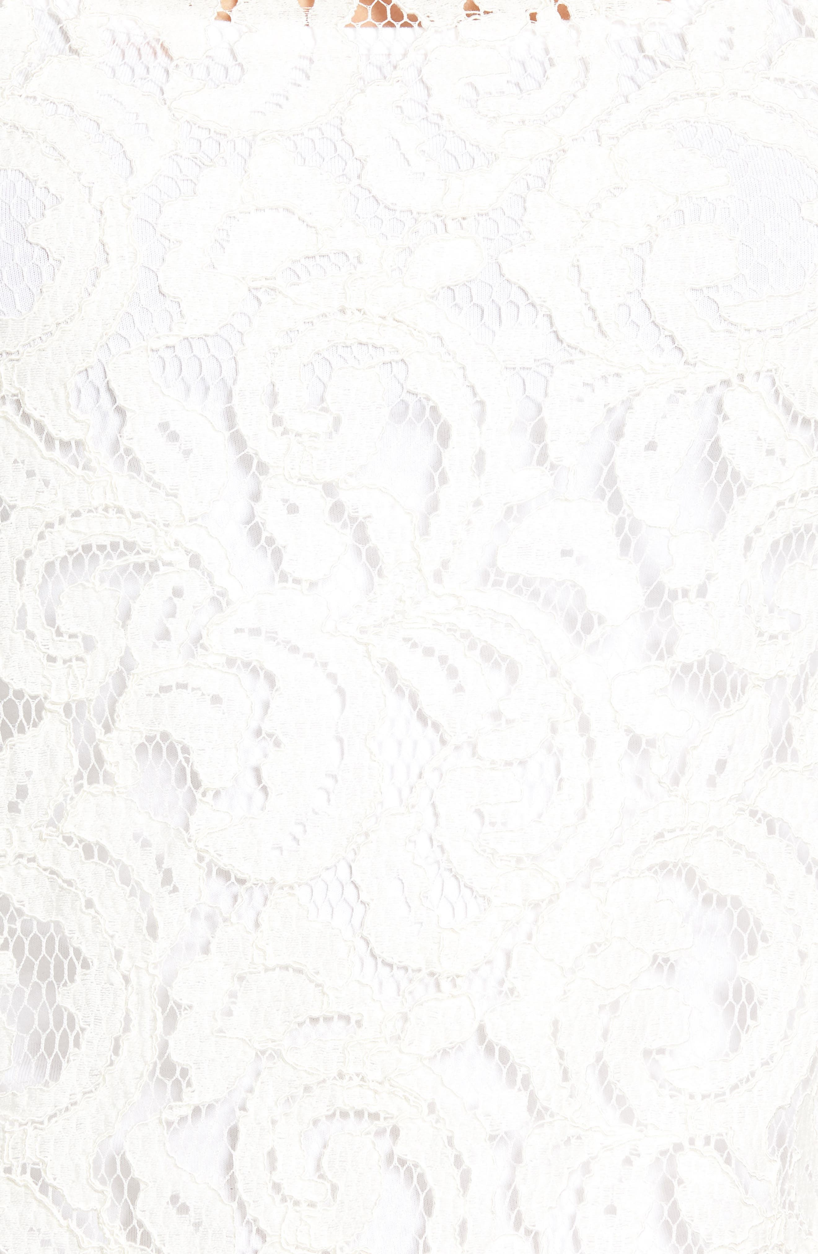 Ribbed Trim Lace Top,                             Alternate thumbnail 5, color,                             Ivory