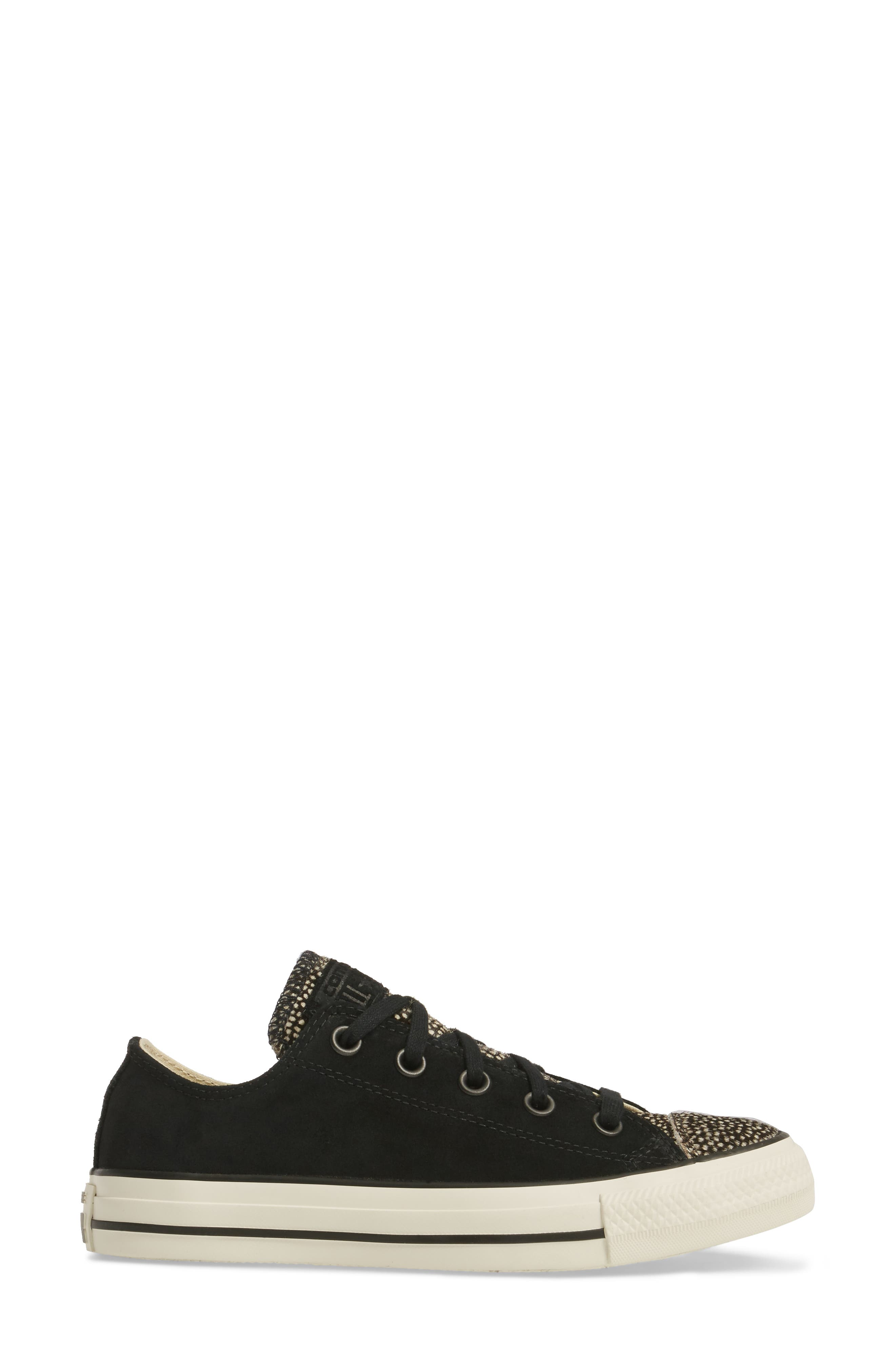 Chuck Taylor<sup>®</sup> All Star<sup>®</sup> Ox Genuine Calf Hair Sneaker,                             Alternate thumbnail 3, color,                             Black