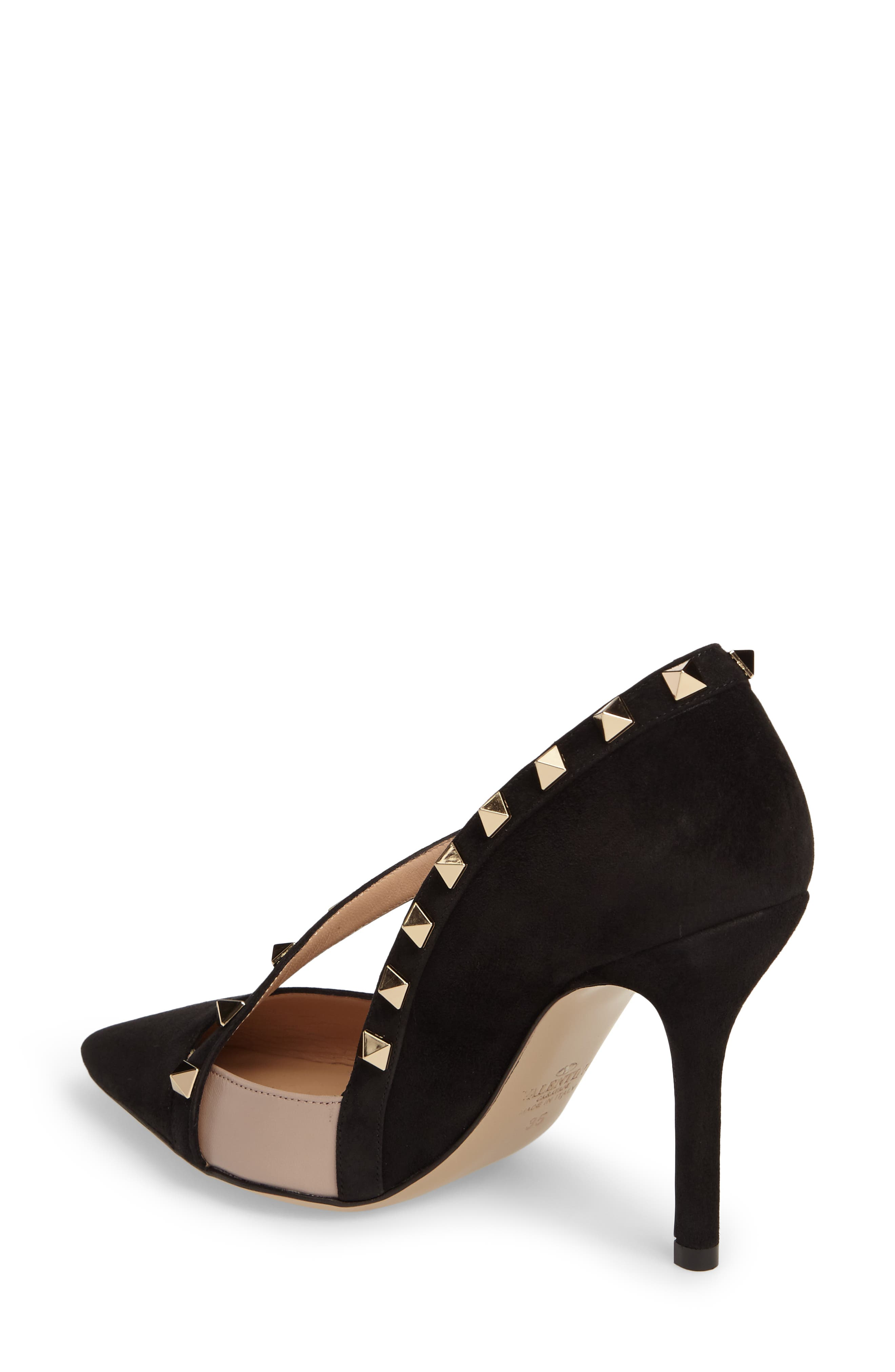 Rockstud d'Orsay Pump,                             Alternate thumbnail 2, color,                             Black Suede