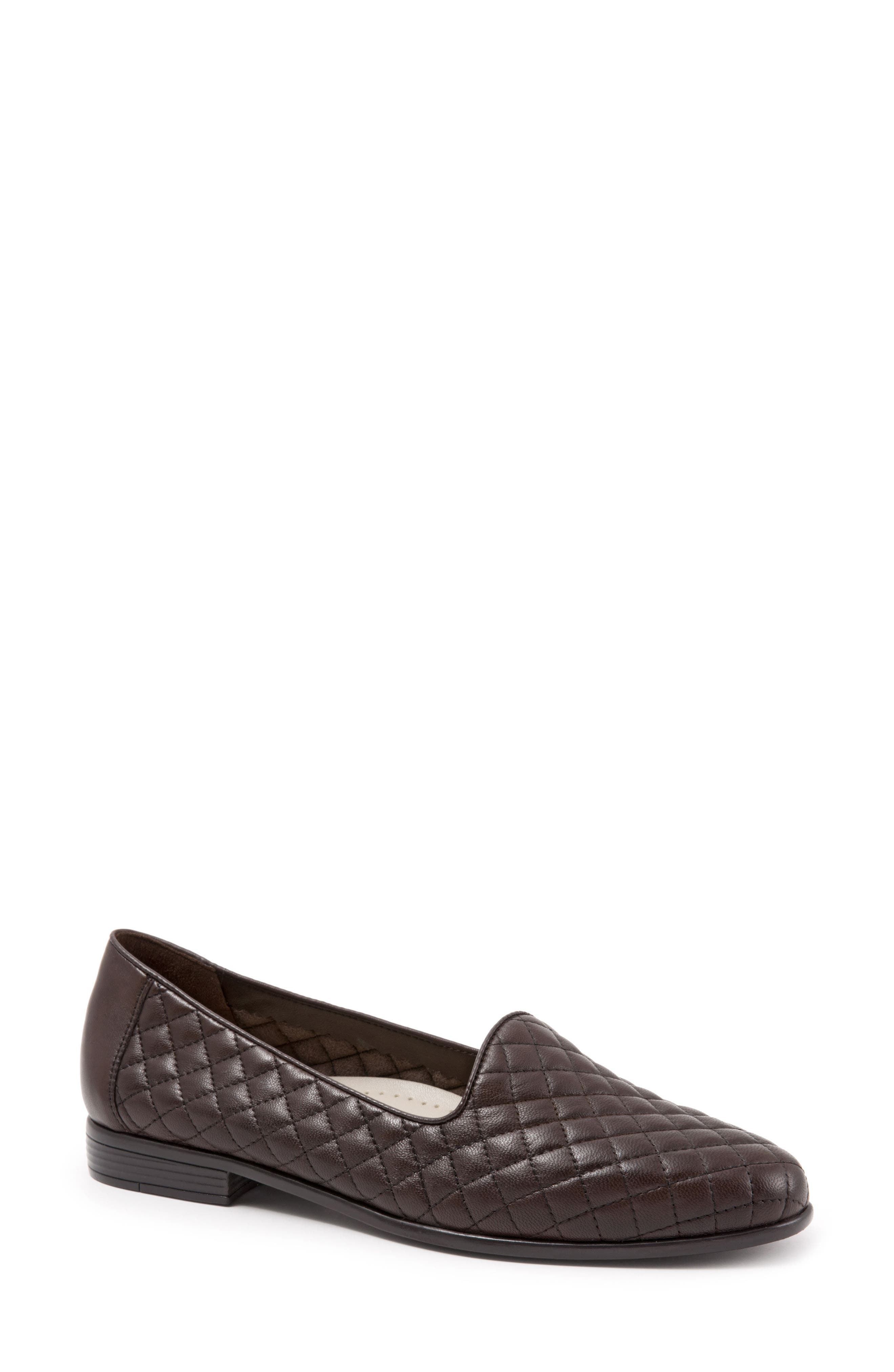 Liz Woven Loafer Flat,                             Main thumbnail 1, color,                             Dark Brown Leather