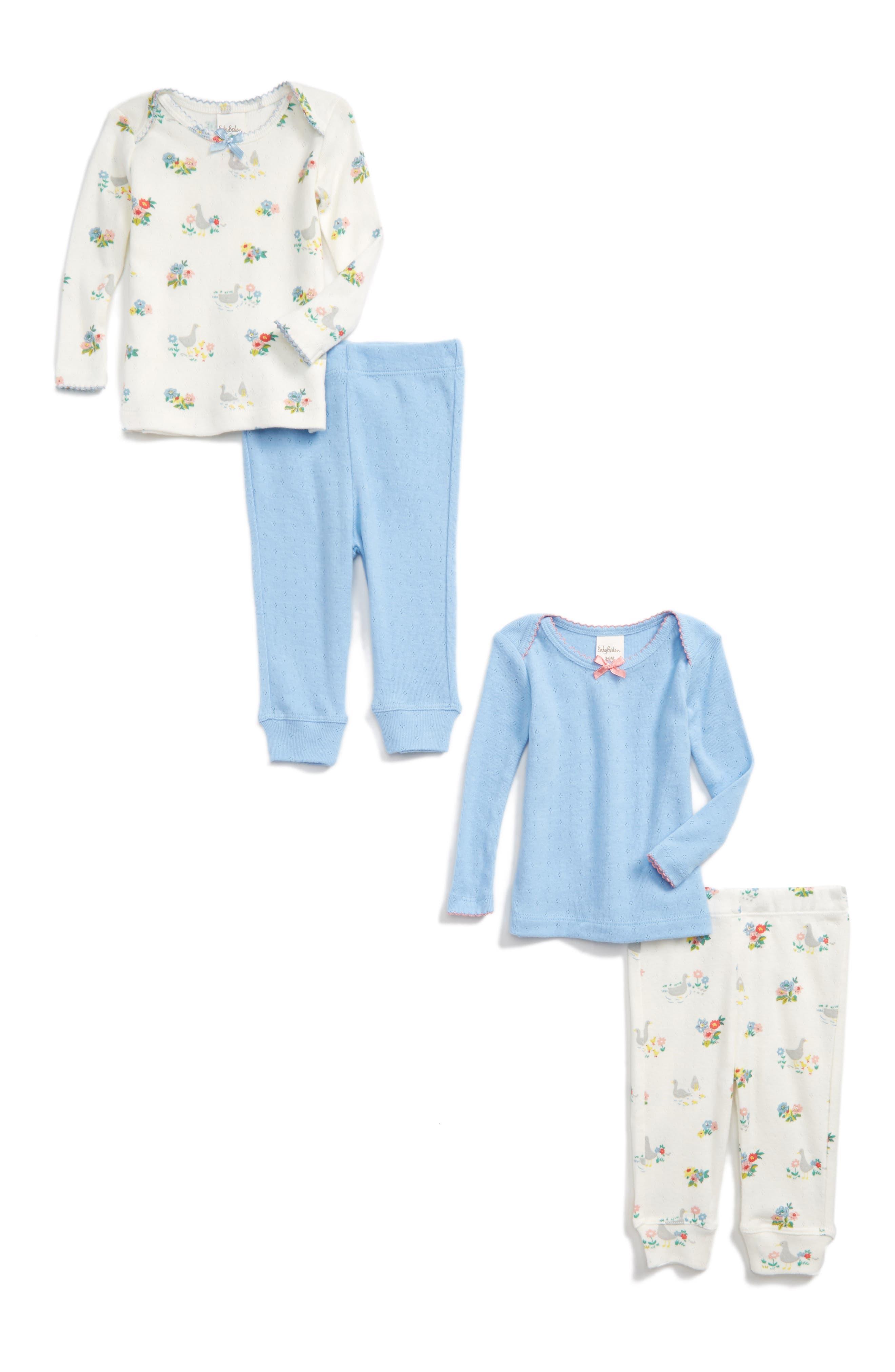 Main Image - Mini Boden Cozy Pointelle 2-Pack Tee & Pants Set (Baby Girls & Toddler Girls)