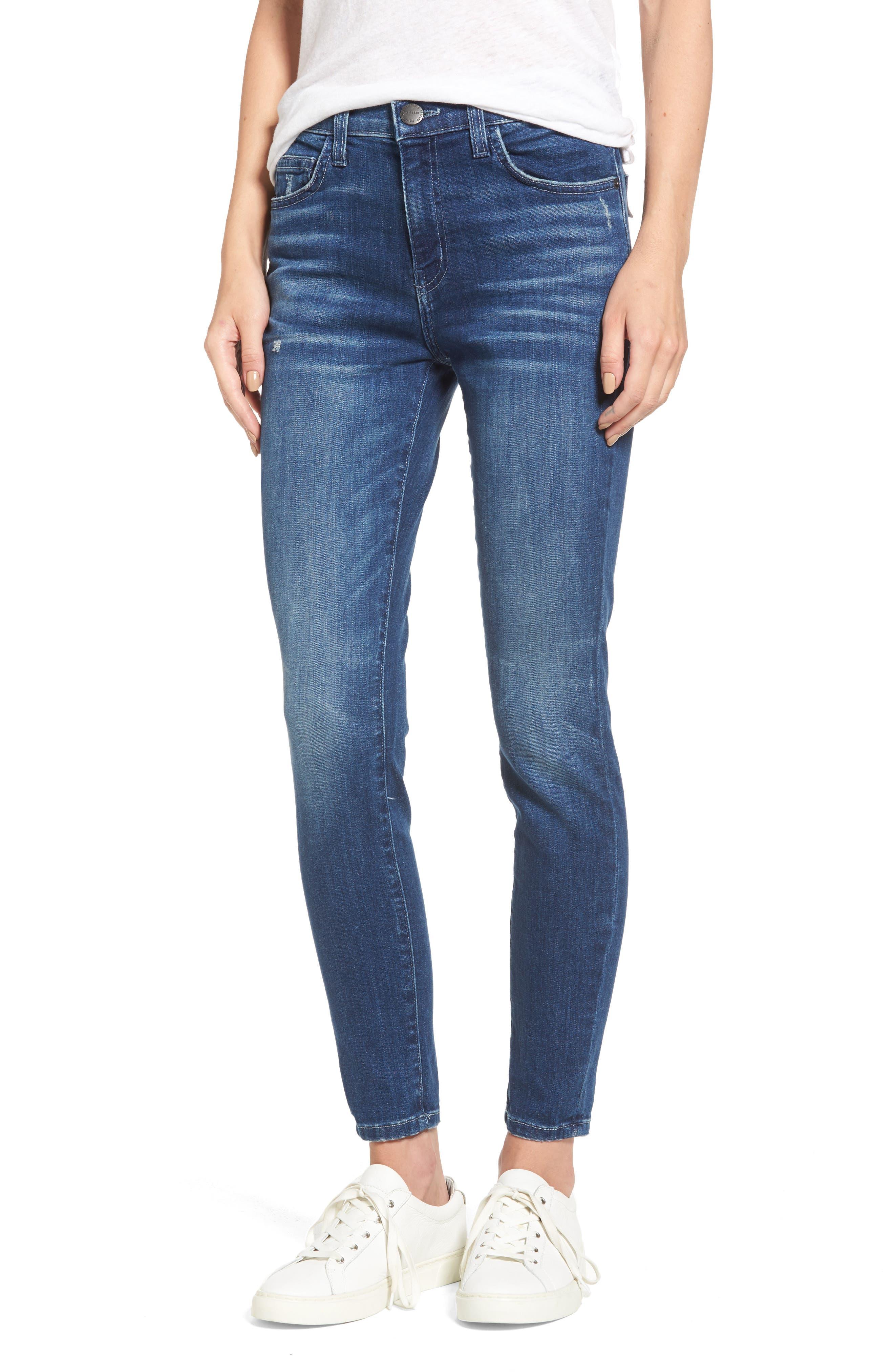 The Stiletto High Waist Skinny Jeans,                             Main thumbnail 1, color,                             Sahara Destroy