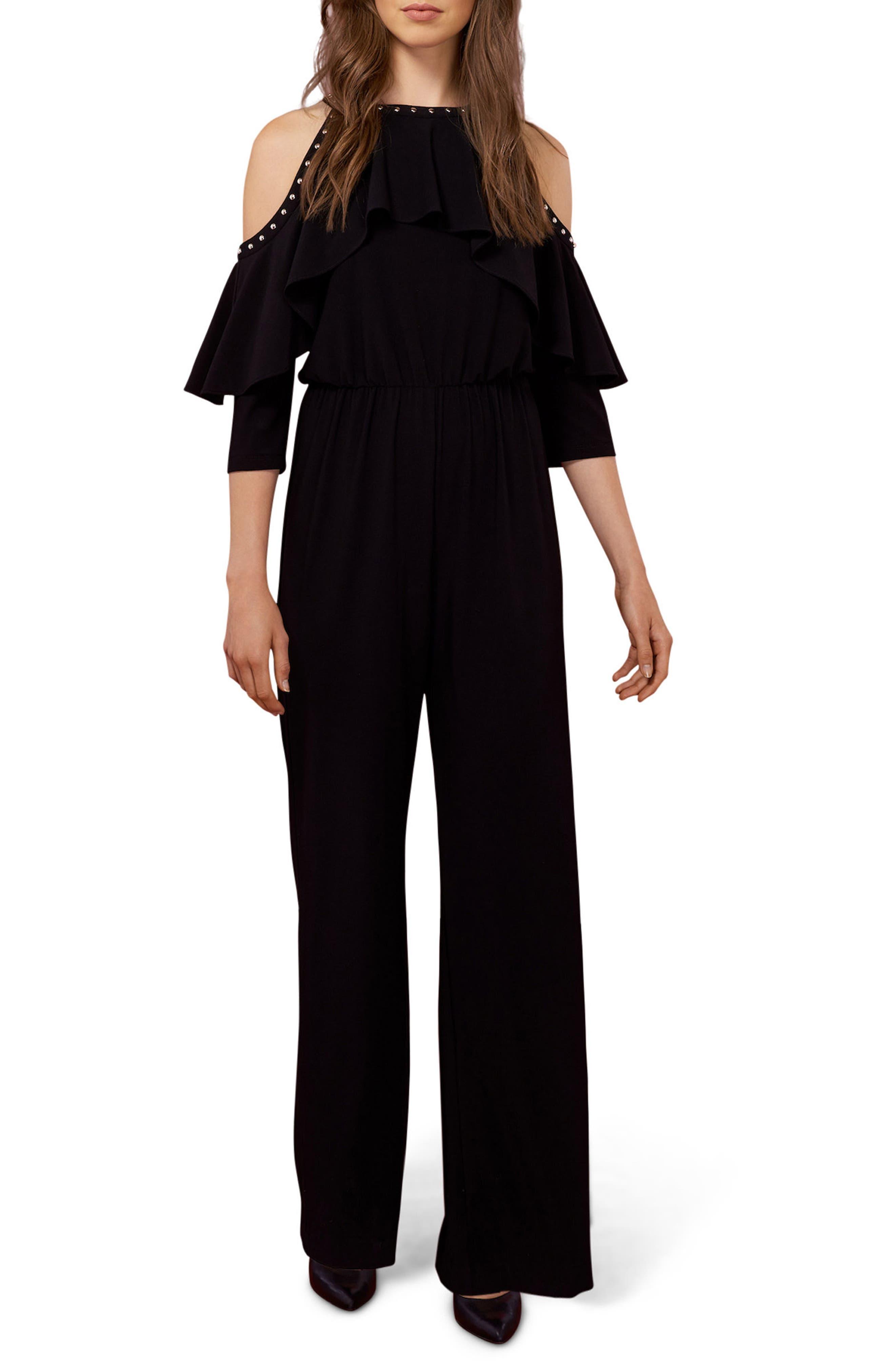 Studded Cold Shoulder Jumpsuit,                             Main thumbnail 1, color,                             Black