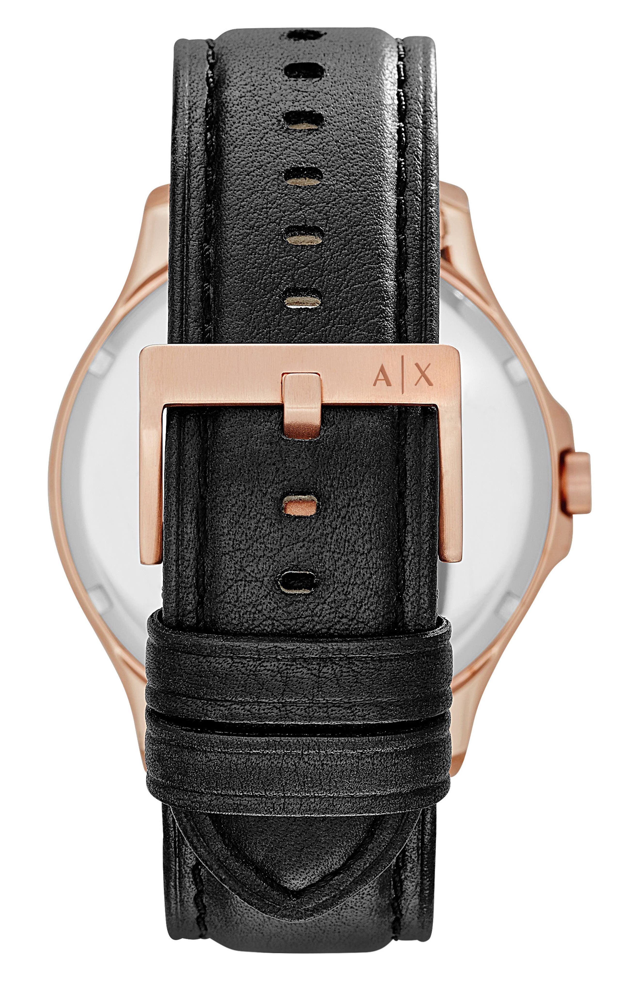Alternate Image 2  - AX Armani Exchange Leather Strap Watch, 46mm