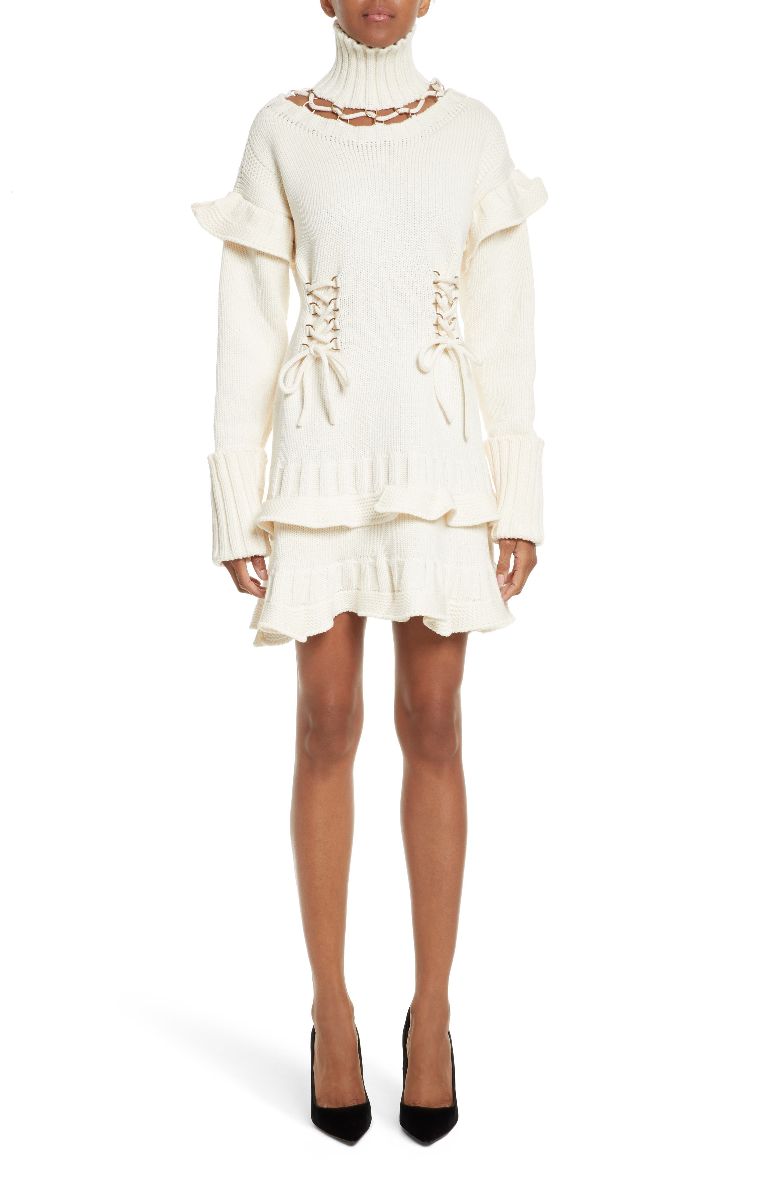 Lace-Up Turtleneck Sweater Dress,                             Main thumbnail 1, color,                             Ivory