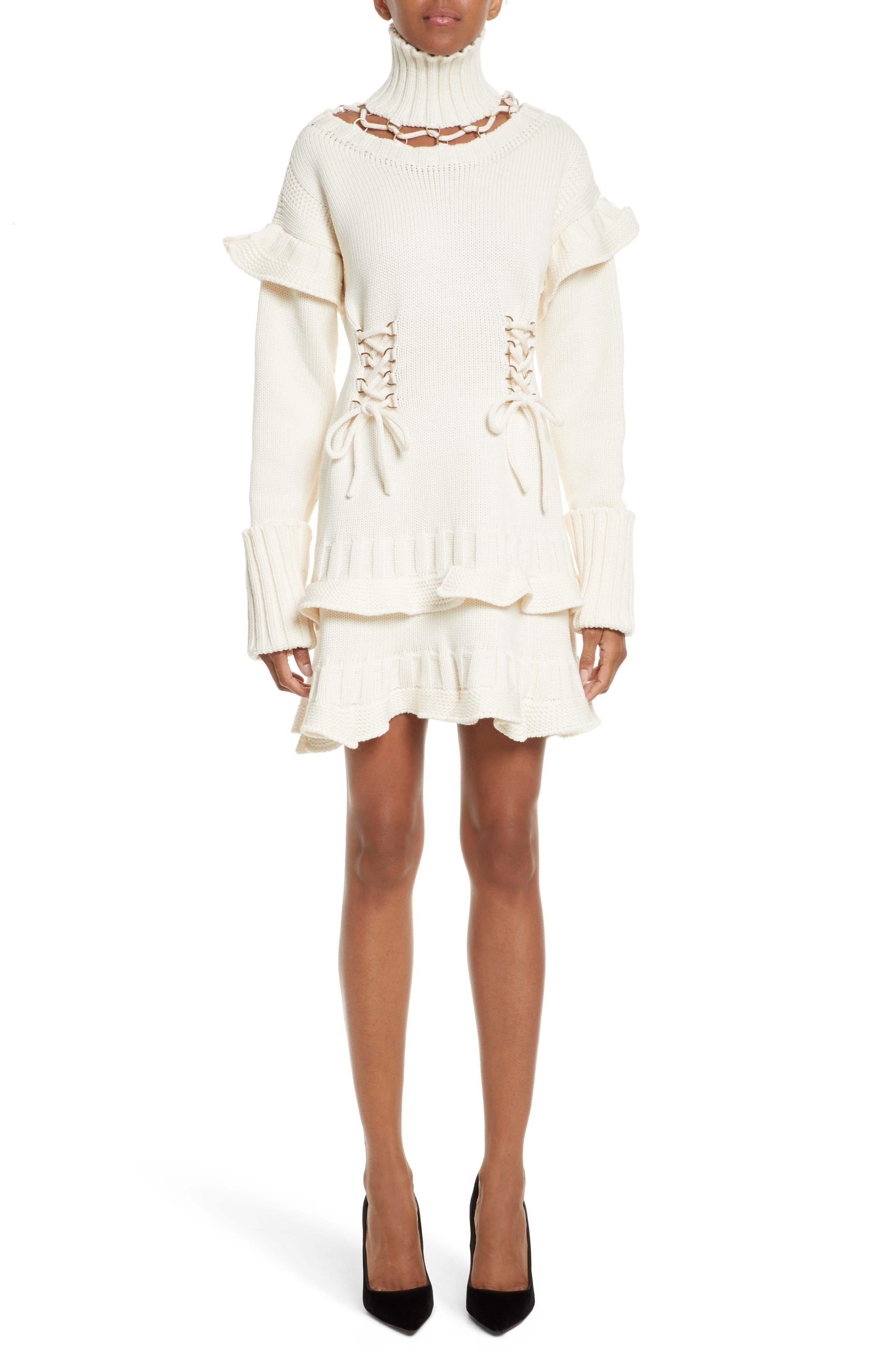 Main Image - Alexander McQueen Lace-Up Turtleneck Sweater Dress
