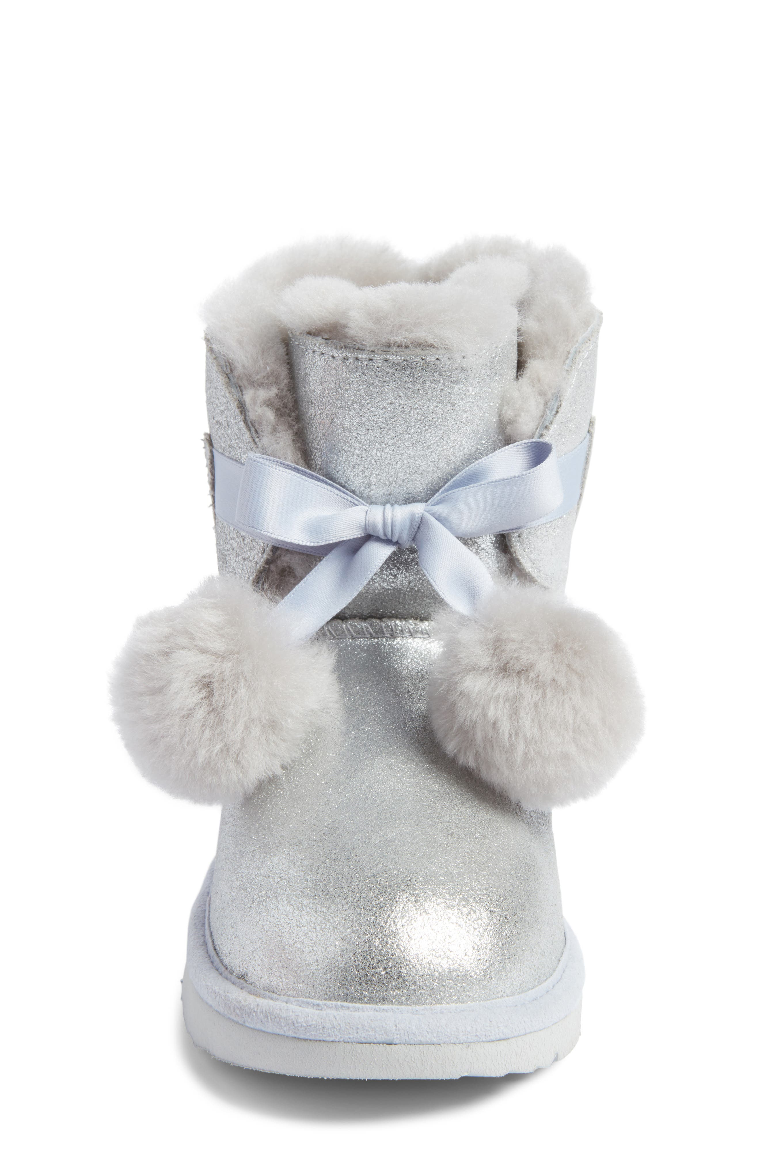 Alternate Image 4  - UGG® Gita Metallic Genuine Shearling Pom Bootie (Walker, Toddler, Little Kid & Big Kid)