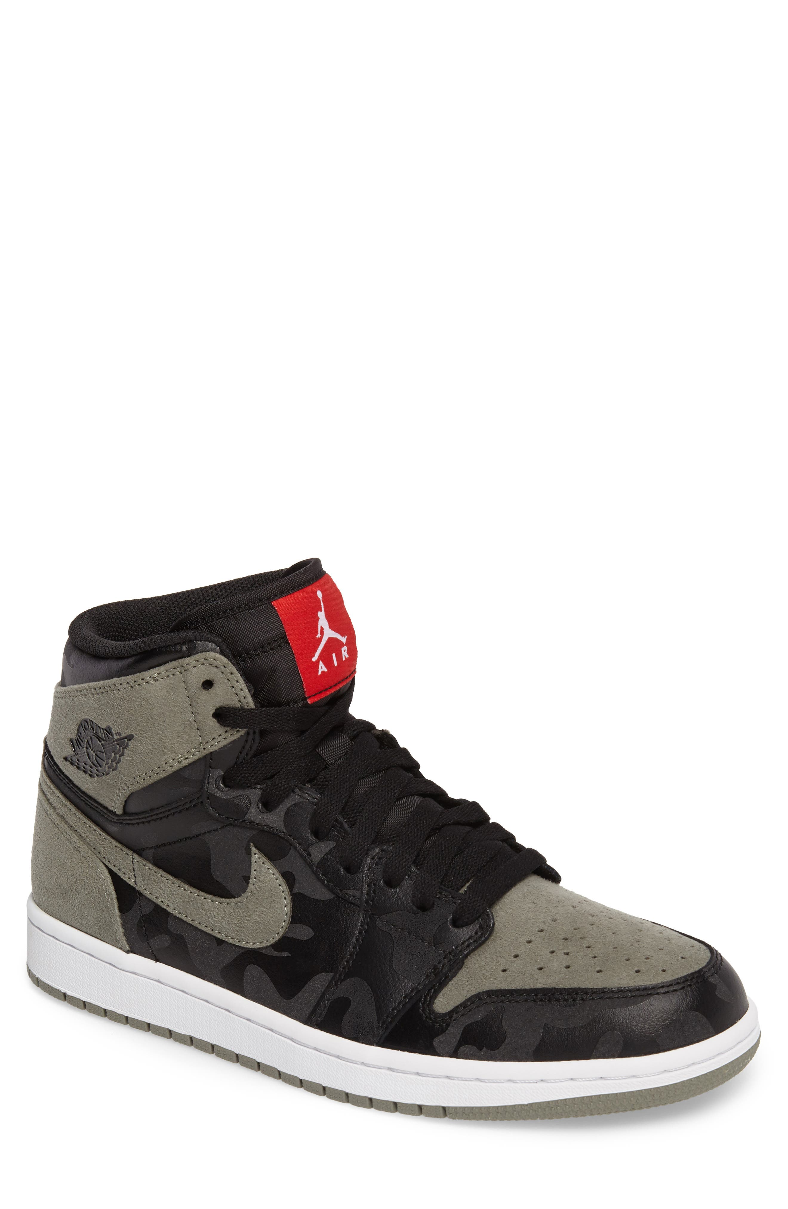 Air Jordan 1 Retro High Top Sneaker,                             Main thumbnail 1, color,                             Black/ Black