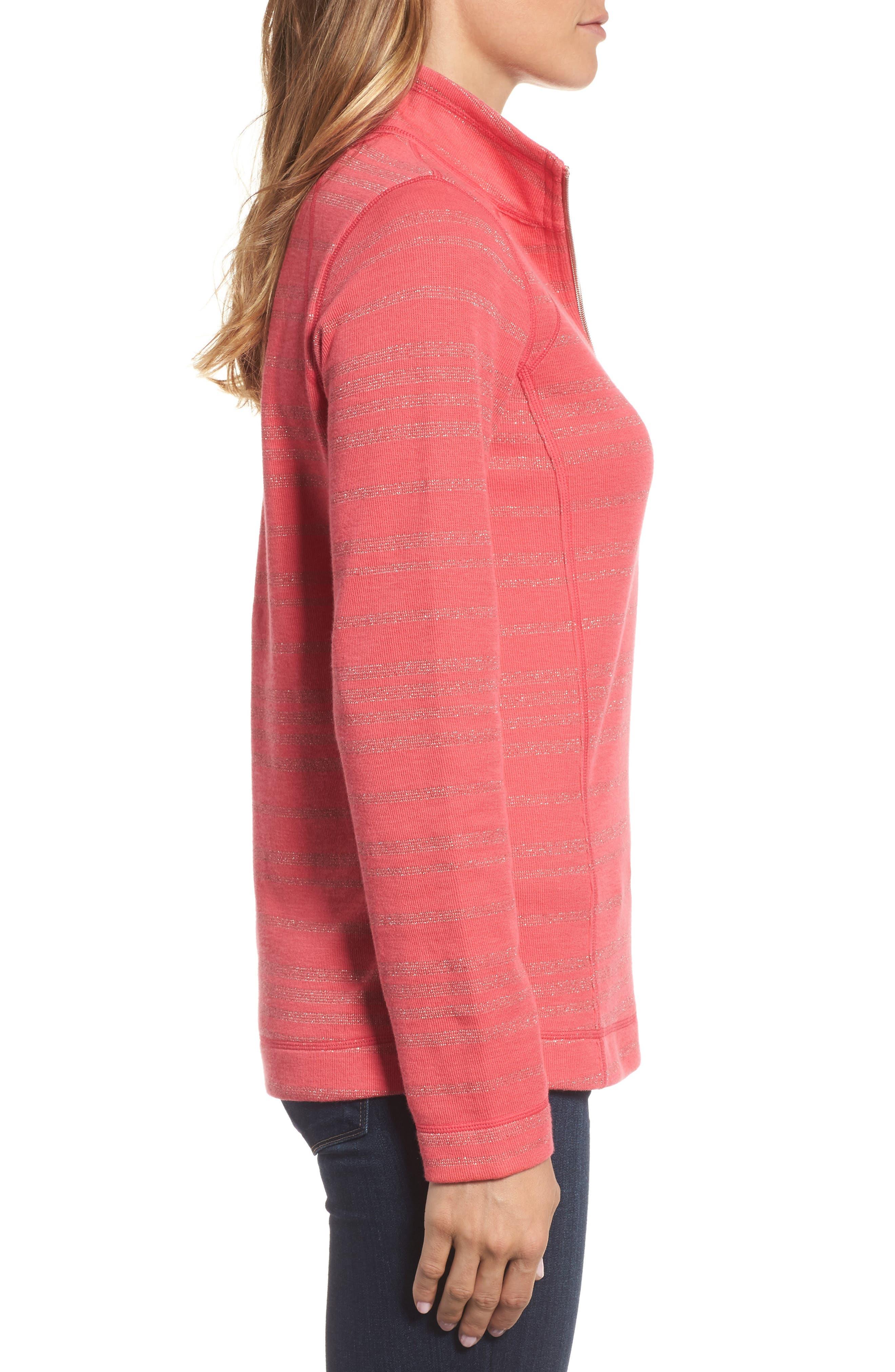 Aruba Shazam Stripe Half-Zip Pullover,                             Alternate thumbnail 3, color,                             Classic Pink