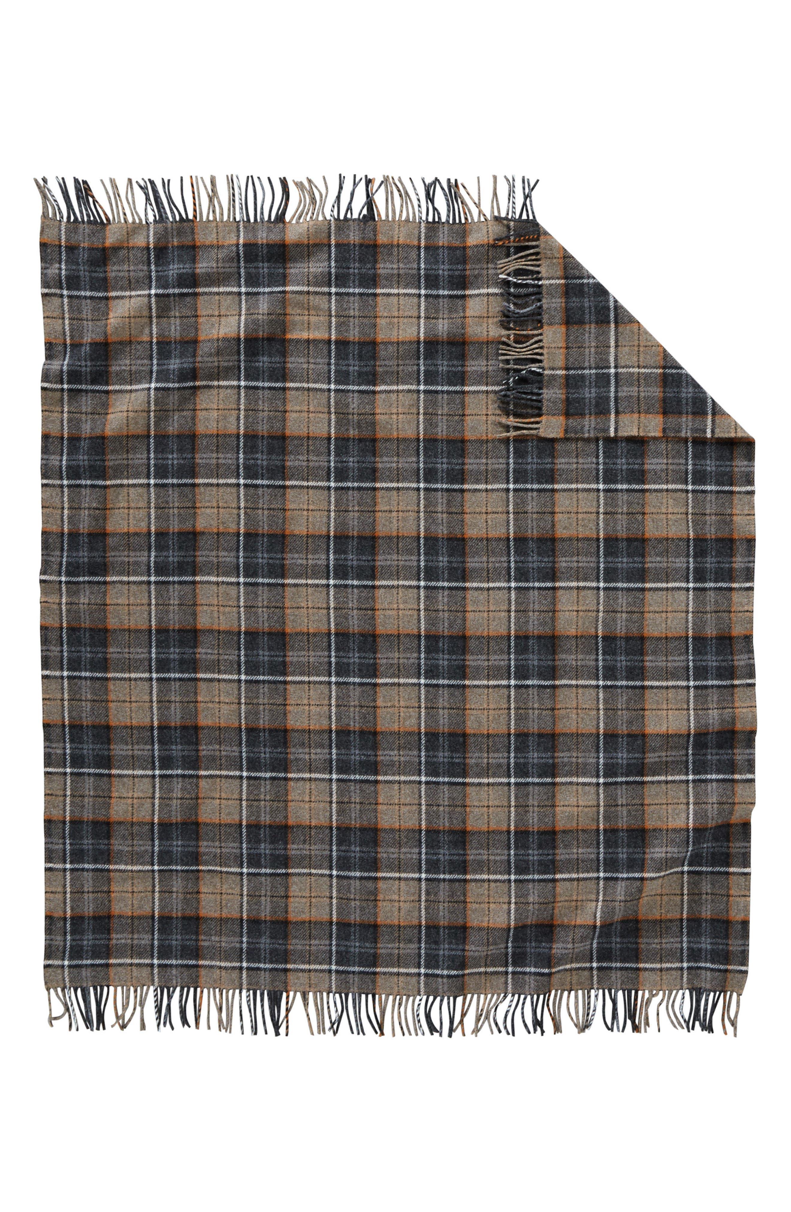 Plaid Wool Throw,                             Alternate thumbnail 2, color,                             Smoke