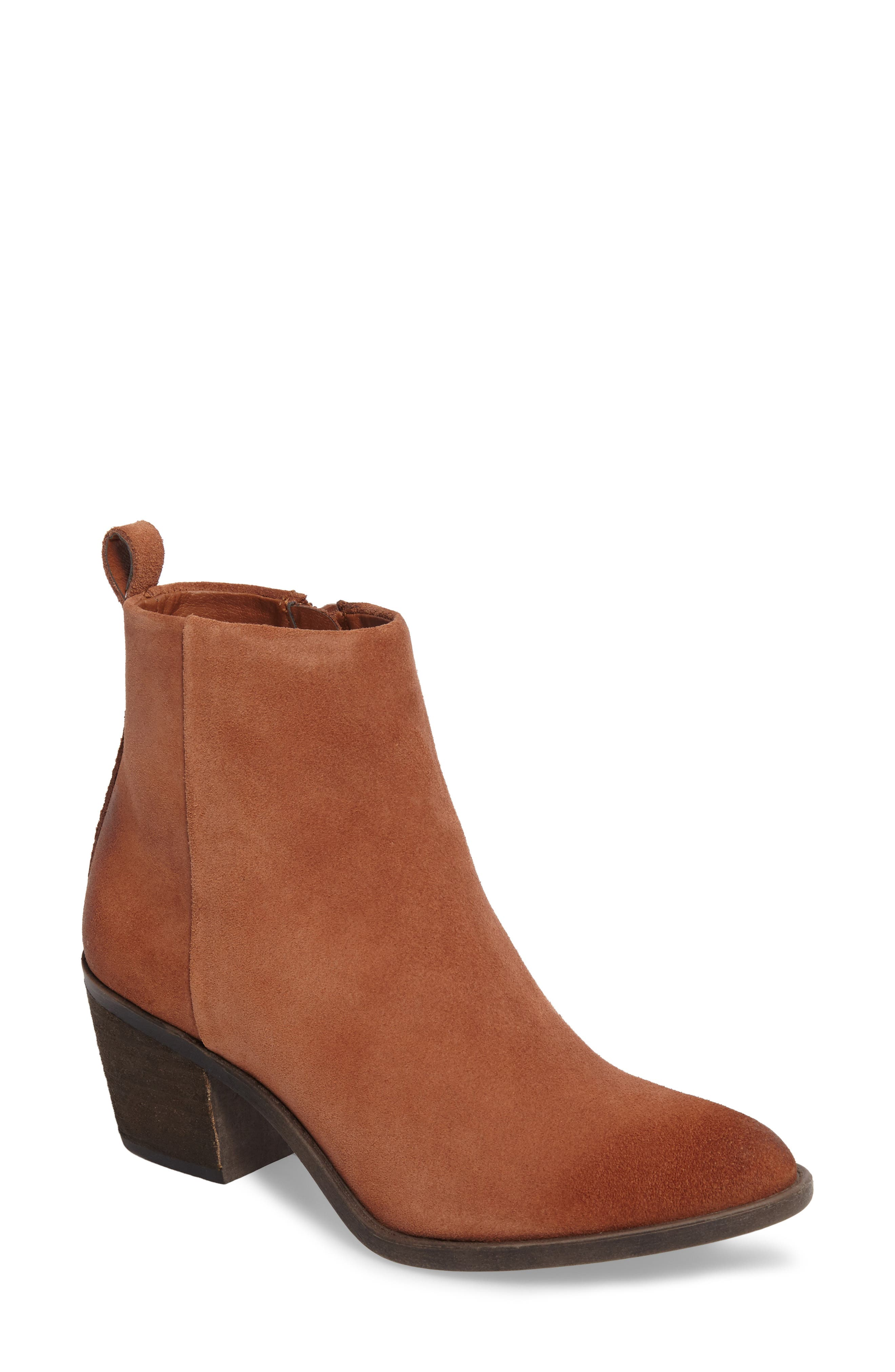 Natania Bootie,                             Main thumbnail 1, color,                             Toffee Suede