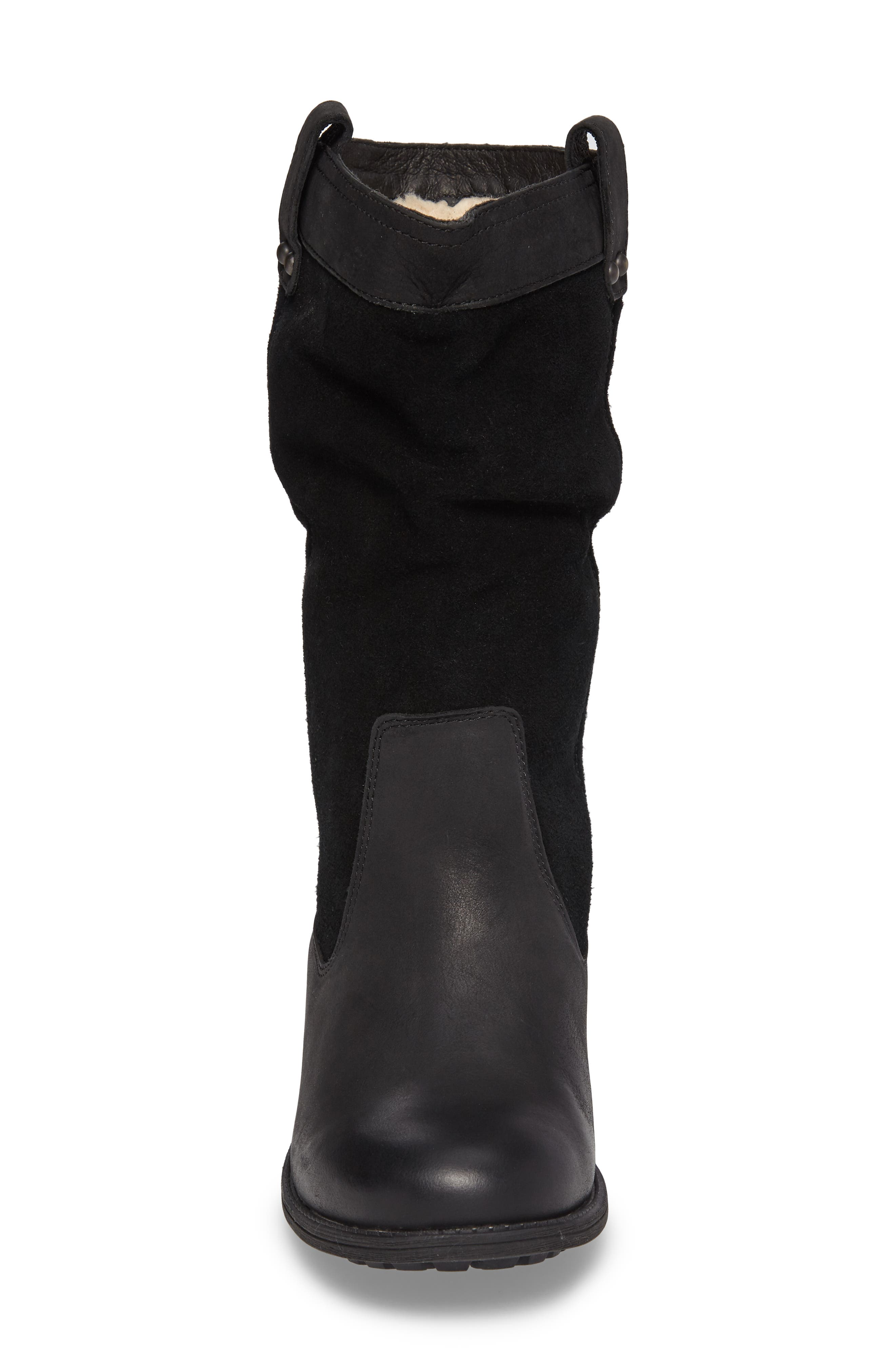 Bruckner Water Resistant Slouch Boot,                             Alternate thumbnail 4, color,                             Black Leather
