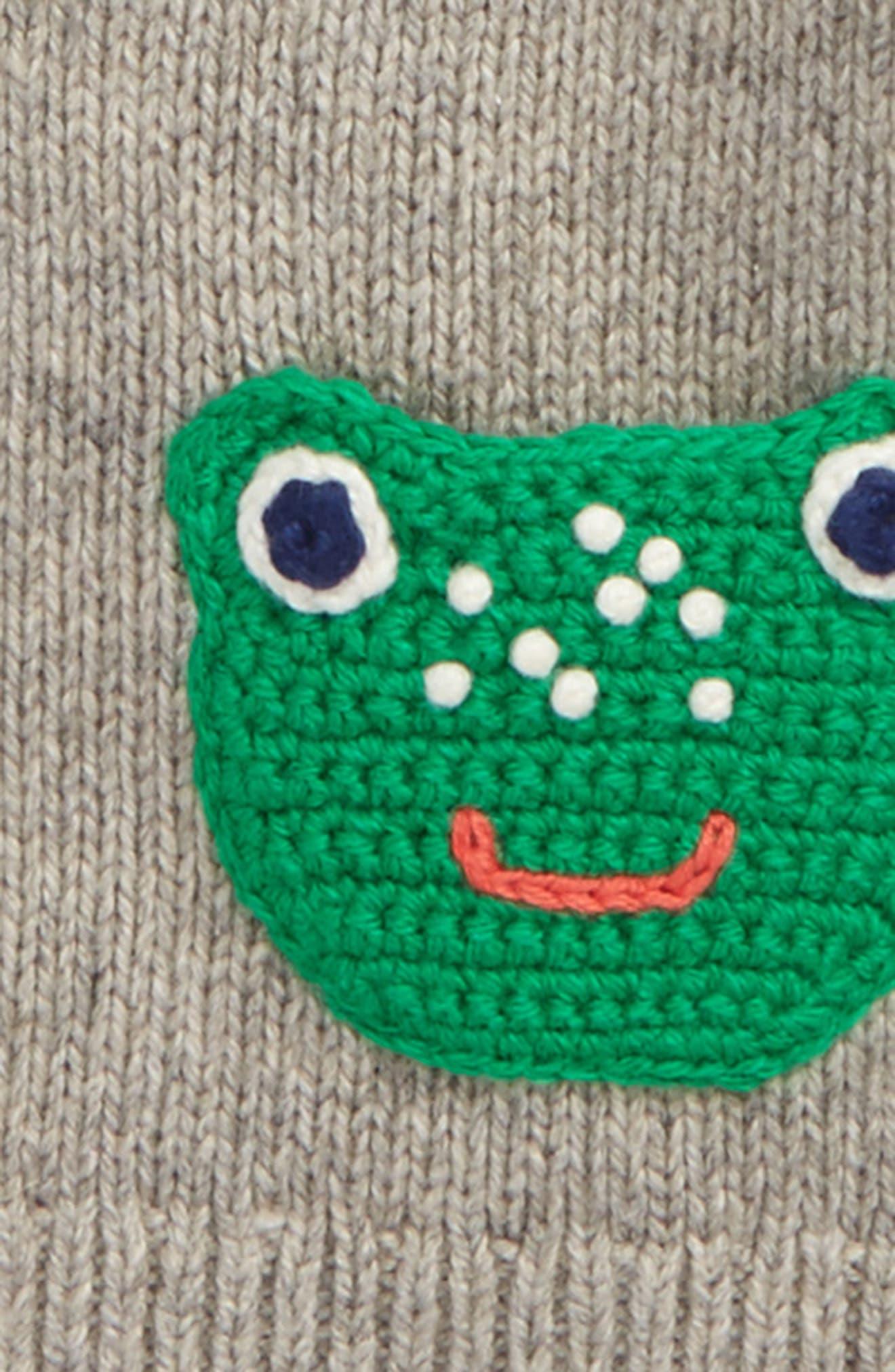 Crochet Friends Cardigan,                             Alternate thumbnail 2, color,                             Grey Marl Frogs