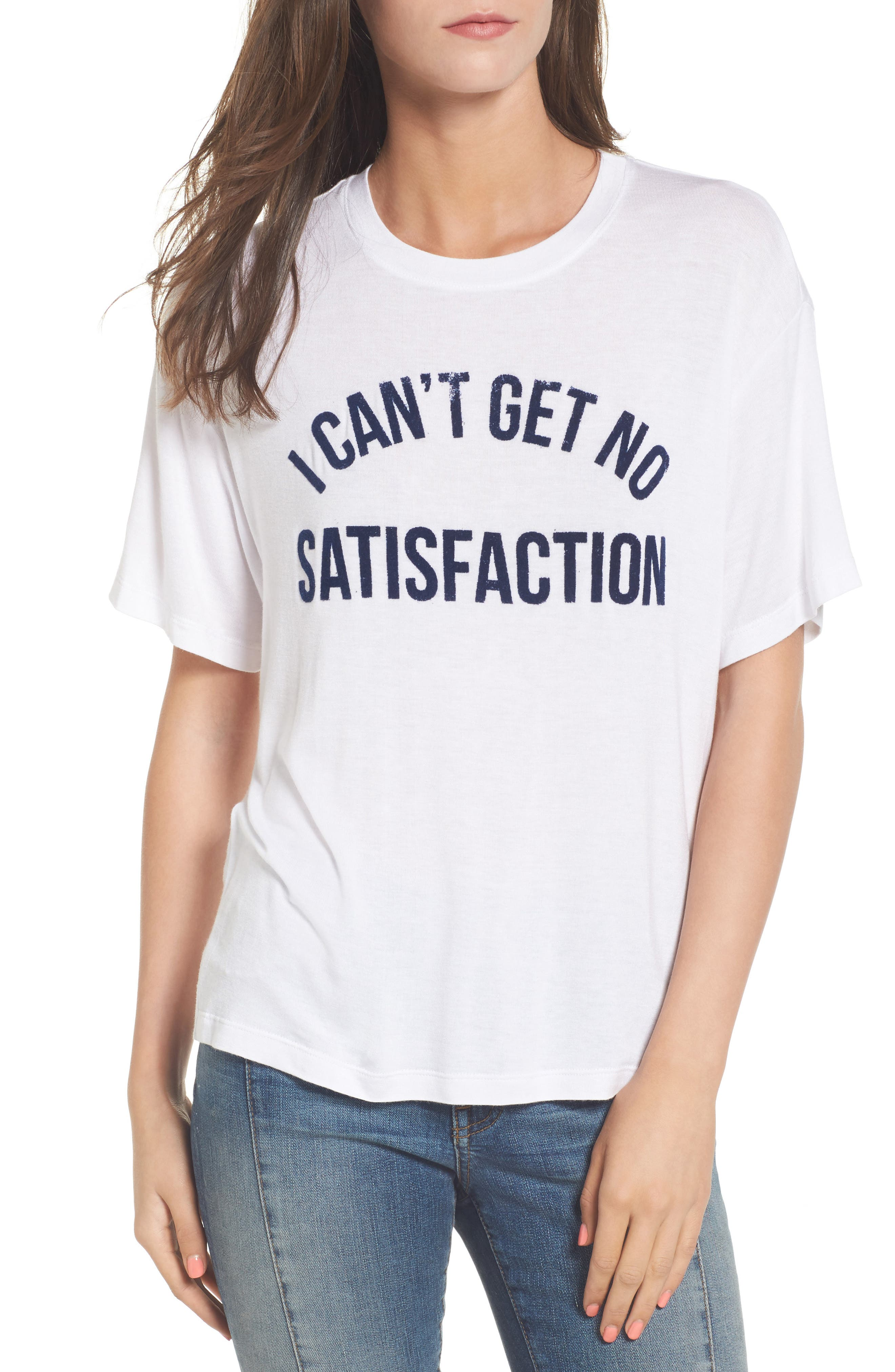 No Satisfaction Graphic Tee,                             Main thumbnail 1, color,                             White