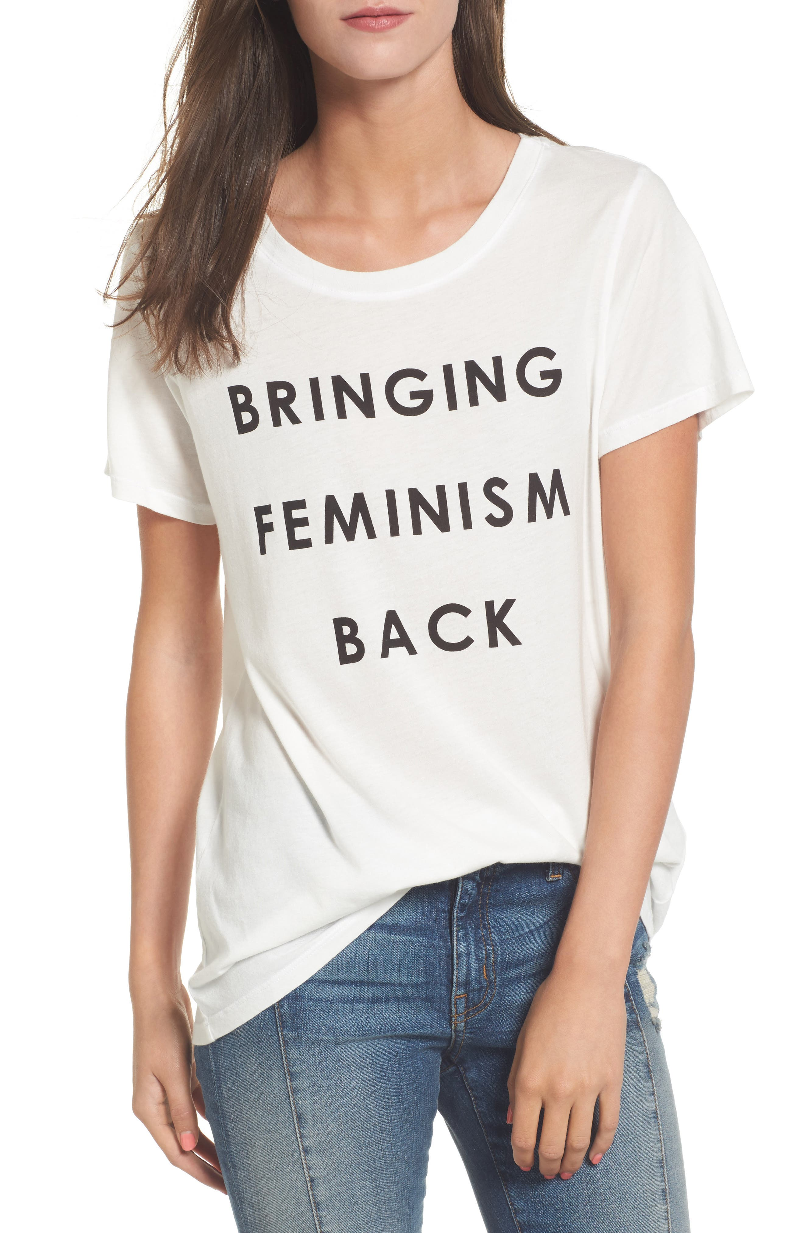 Bringing Feminism Back Tee,                             Main thumbnail 1, color,                             Vintage White