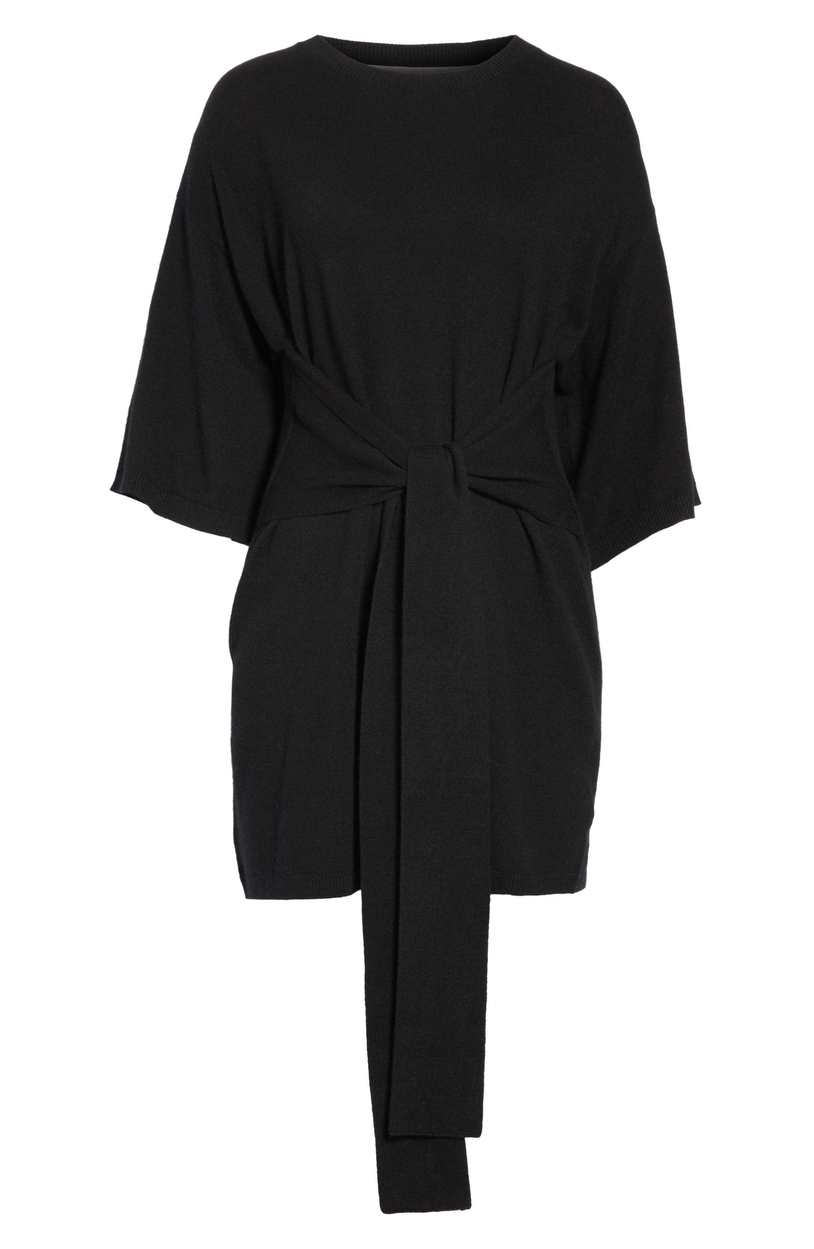 Olympy Tie Front Knit Tunic,                             Alternate thumbnail 6, color,                             Black