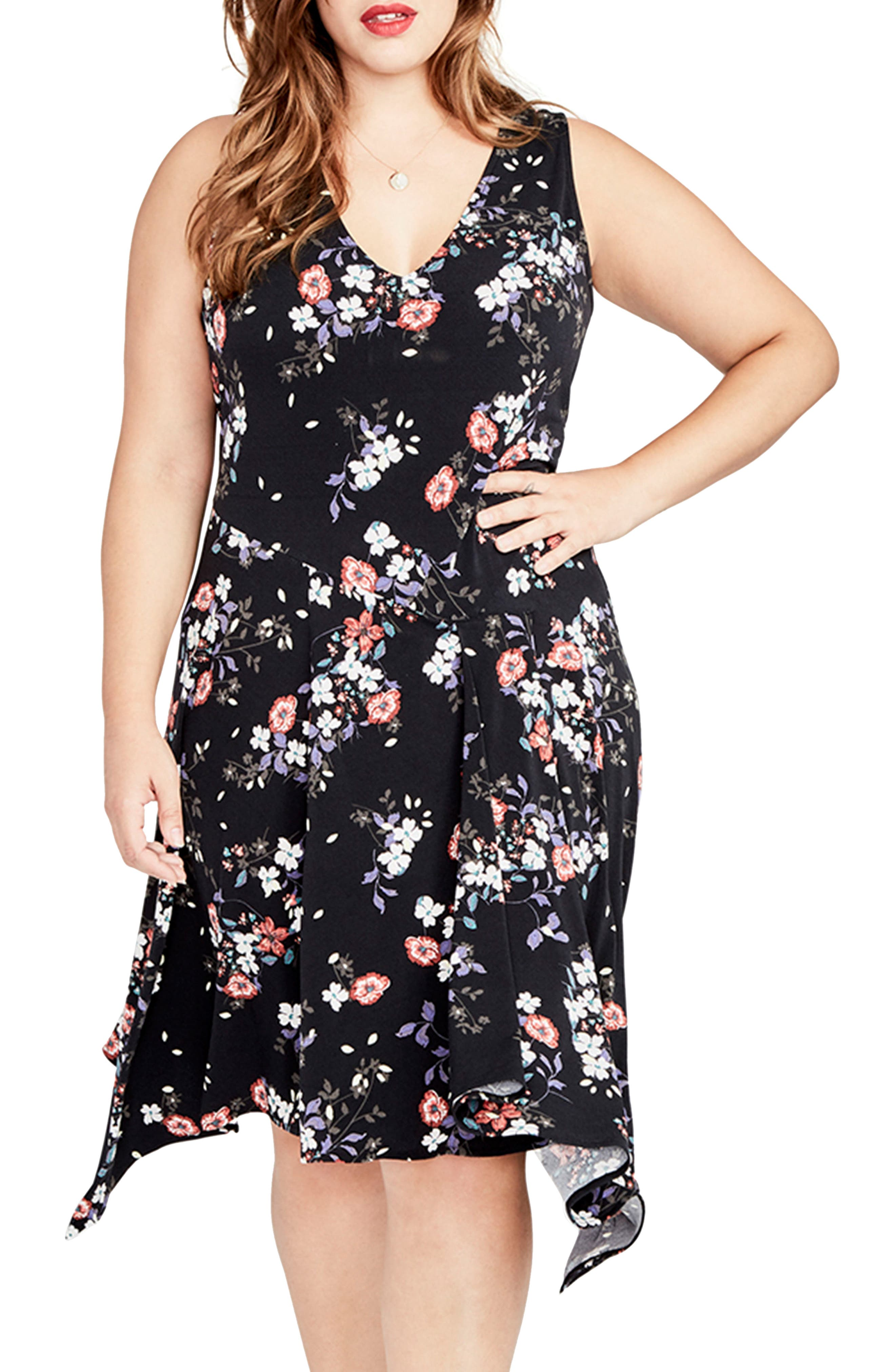 RACHEL Rachel Roy Floral Print Handkerchief Hem Dress (Plus Size)