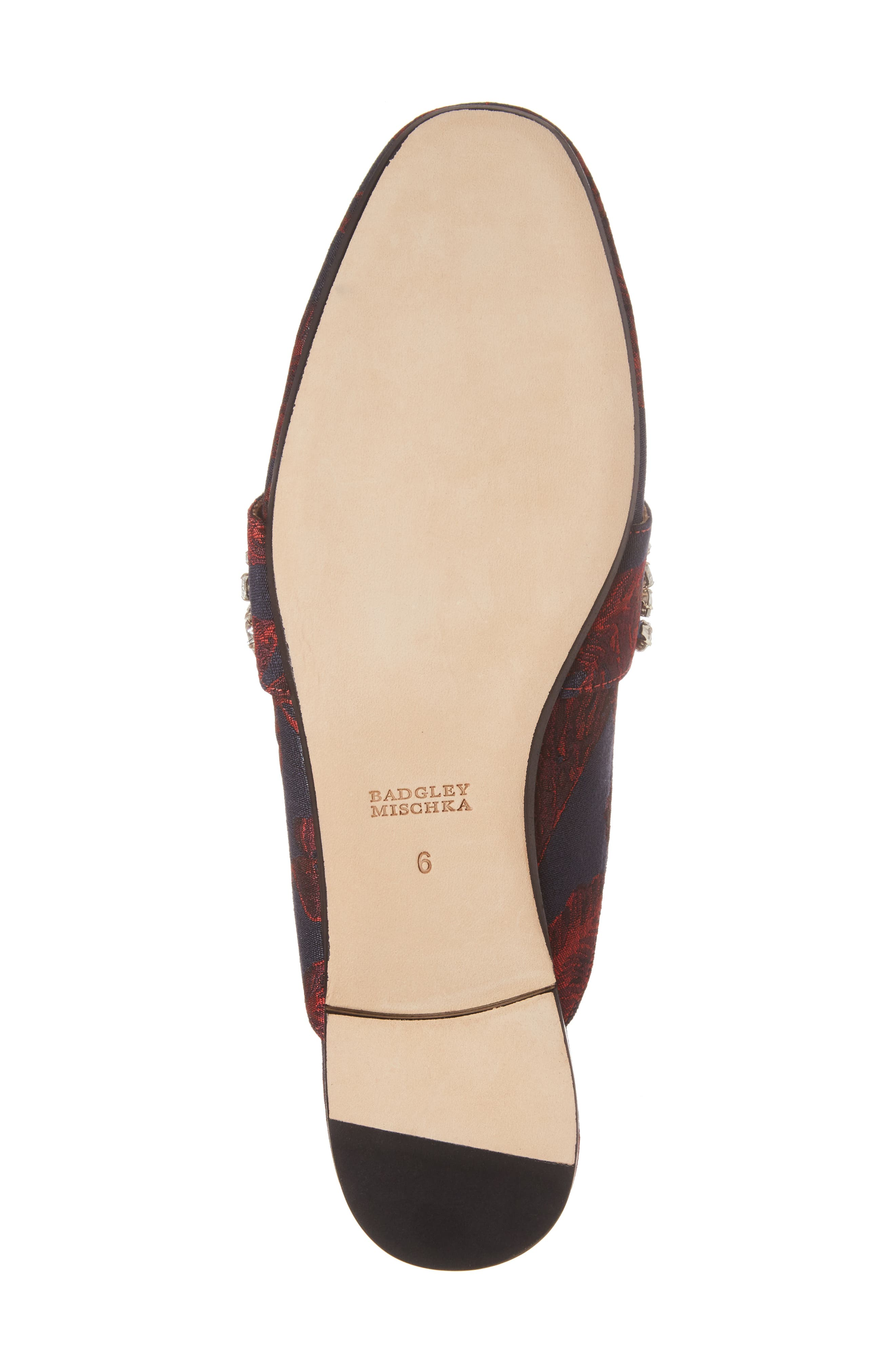 Kana Embellished Loafer Mule,                             Alternate thumbnail 6, color,                             Burgundy Fabric