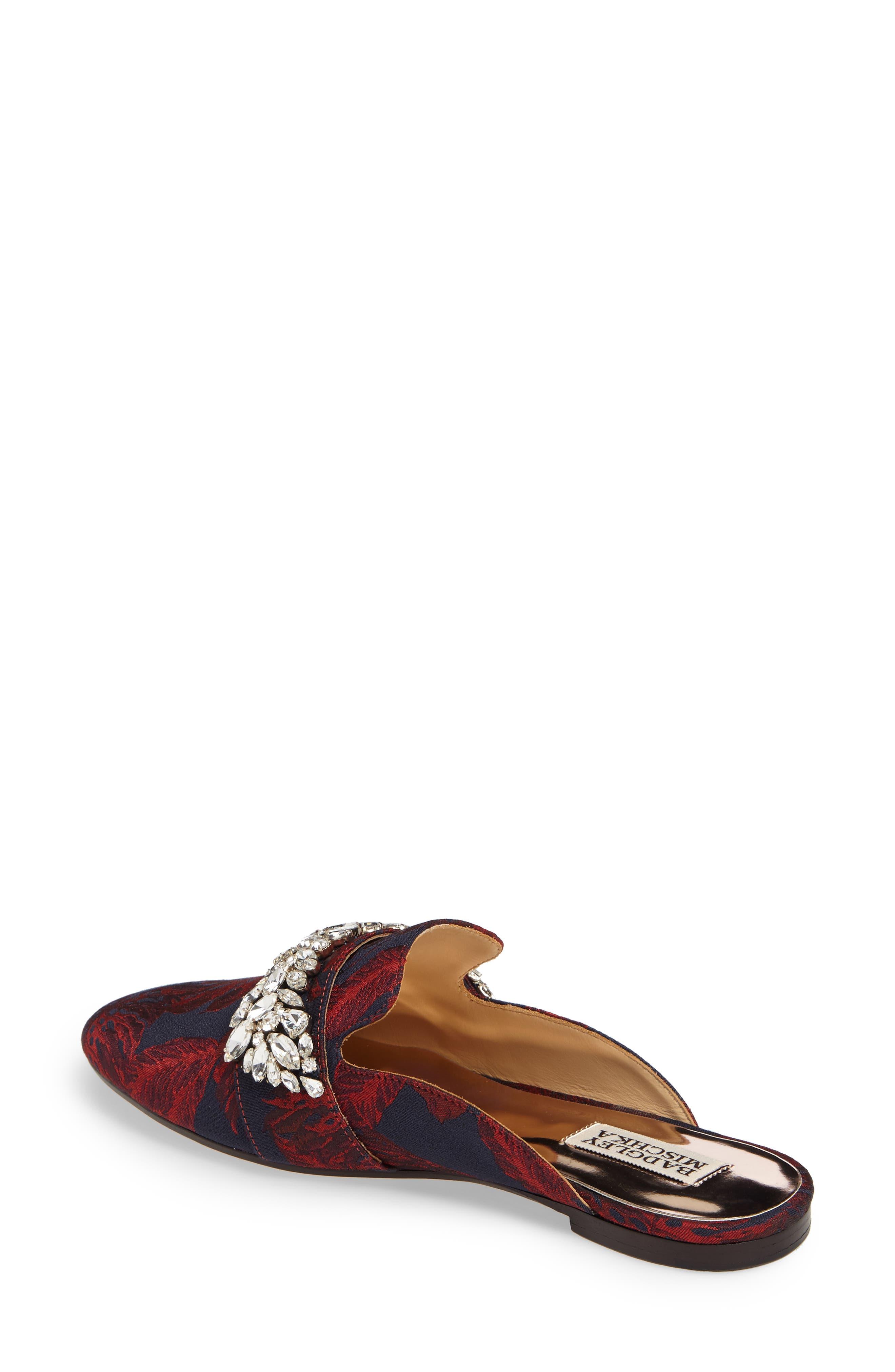 Kana Embellished Loafer Mule,                             Alternate thumbnail 2, color,                             Burgundy Fabric