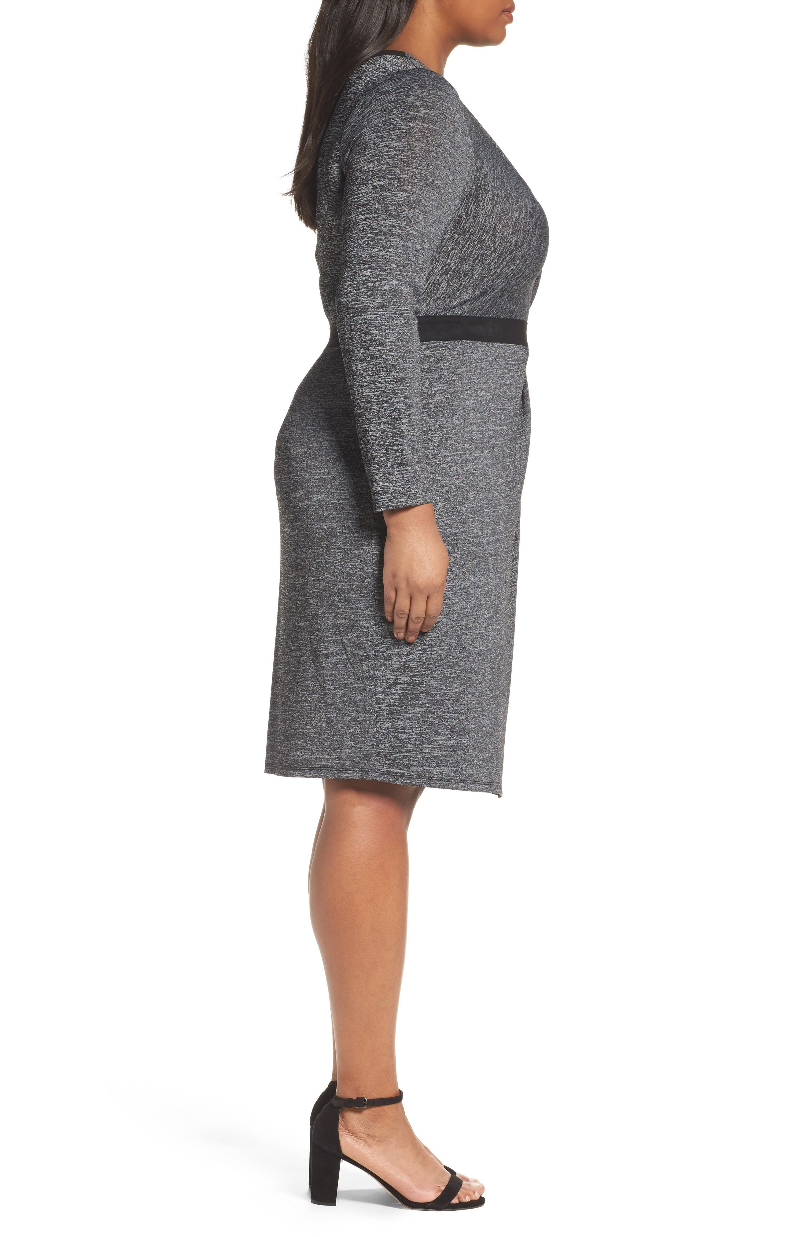 Alternate Image 3  - Adrianna Papell Knit Faux Wrap Dress (Plus Size)