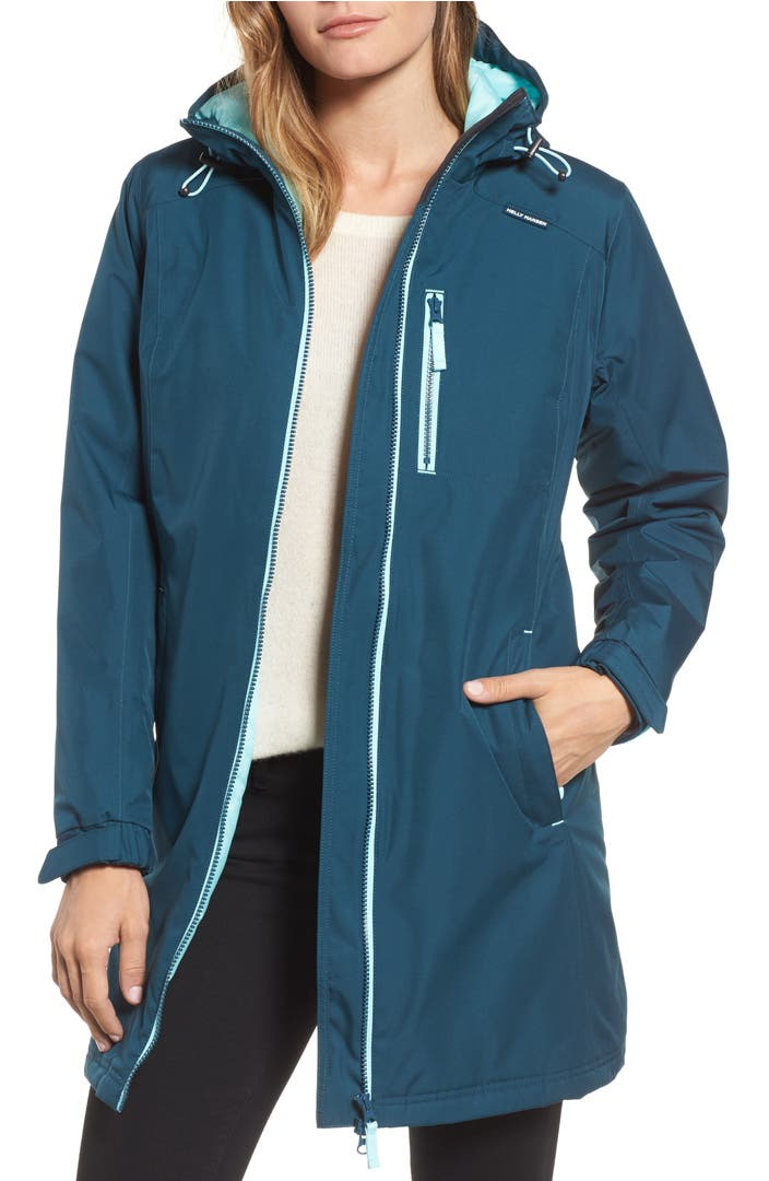 helly hansen 39 belfast 39 long waterproof winter rain jacket nordstrom. Black Bedroom Furniture Sets. Home Design Ideas