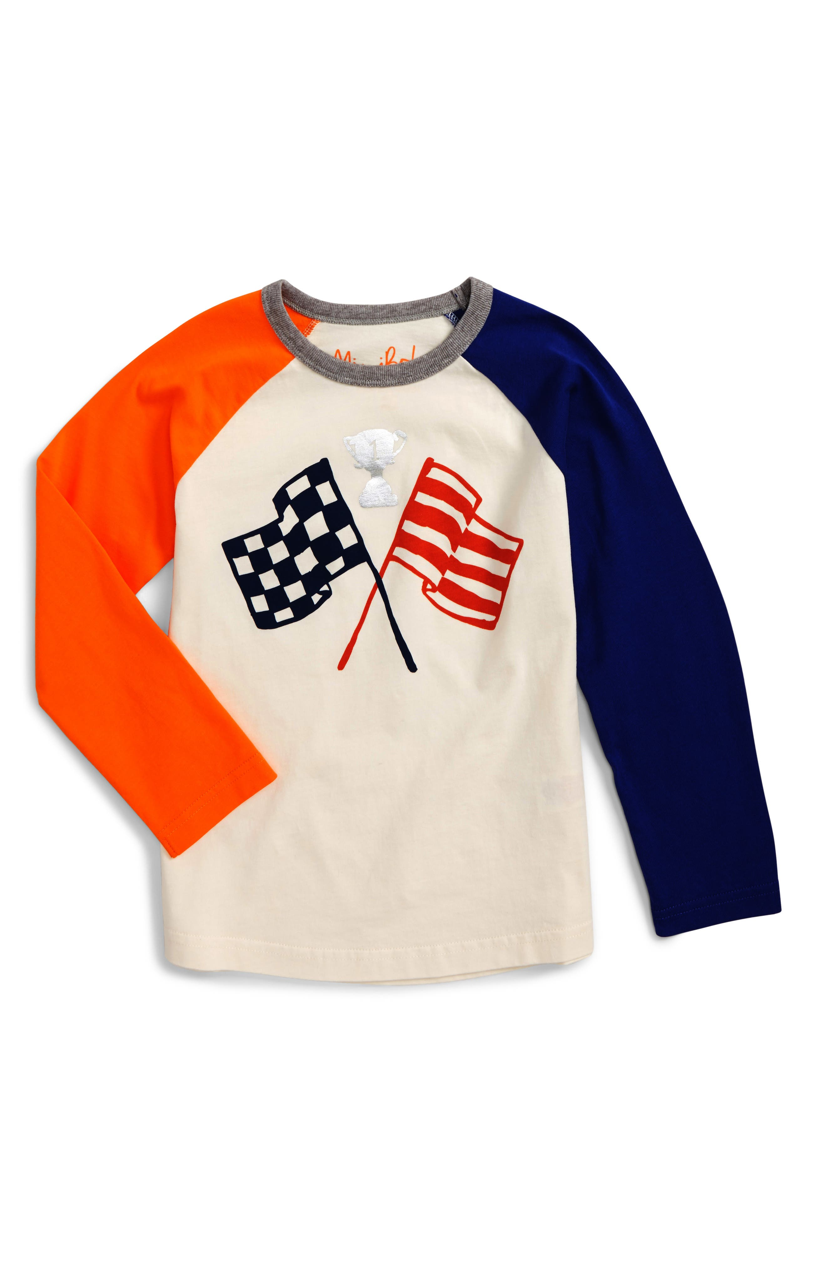 Hotchpotch Raglan T-Shirt,                         Main,                         color, Ivory Flags
