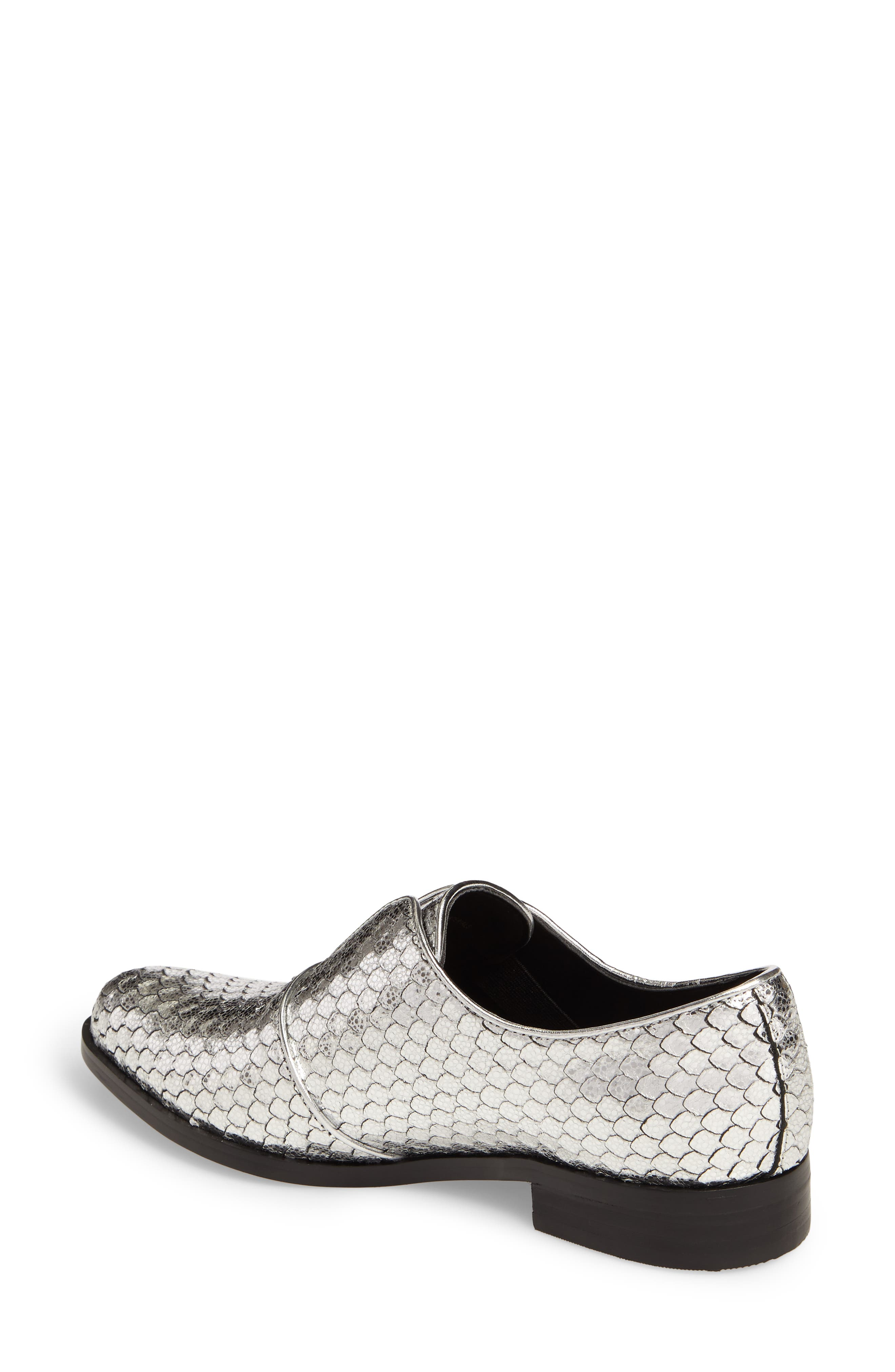 Isola Maria Slip-On Oxford,                             Alternate thumbnail 2, color,                             Silver Cut Snake Print Leather