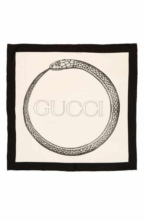 7ff48ed1b62 Gucci Ouroboros Square Foulard Silk Scarf
