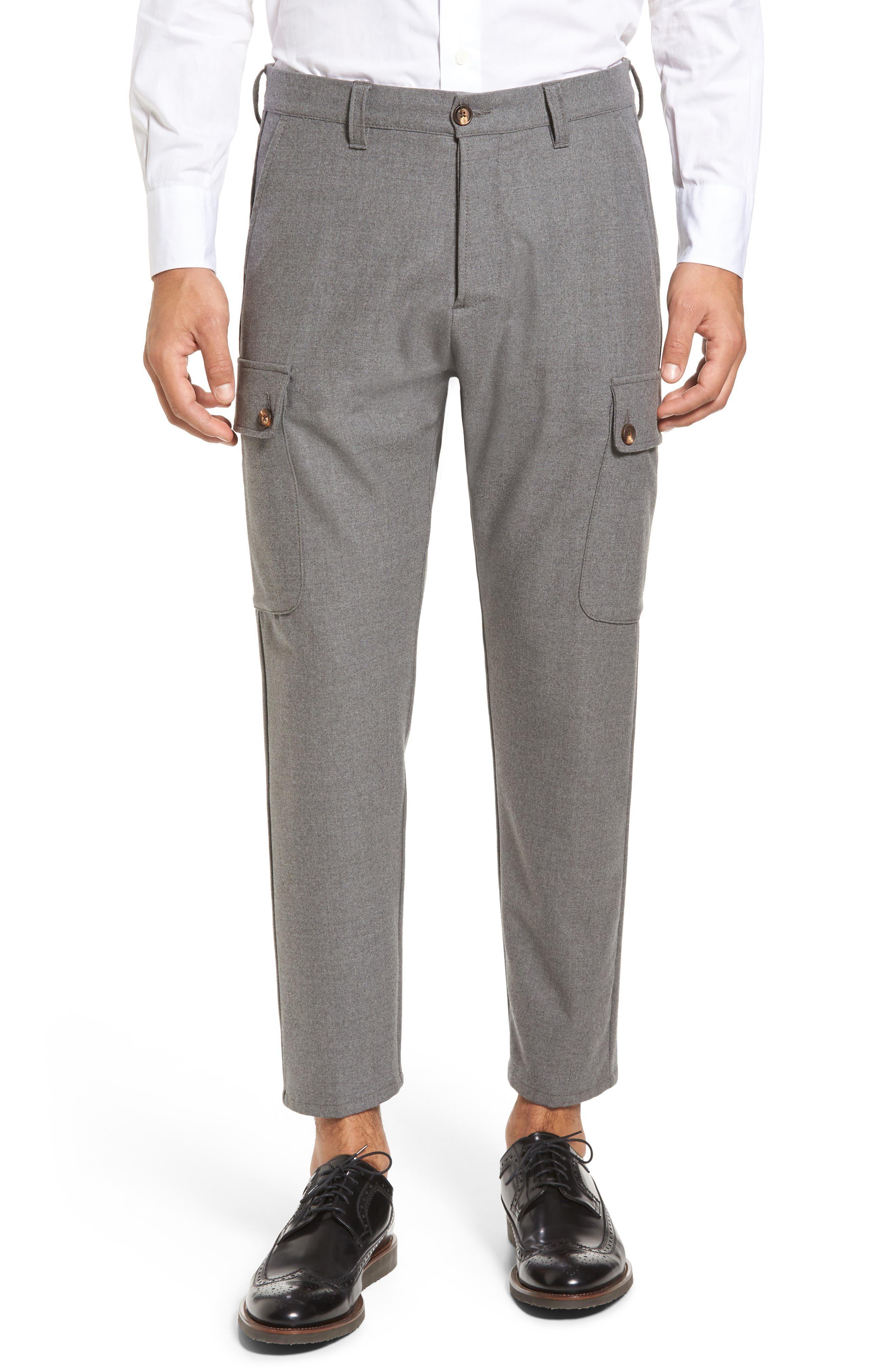 Stretch Wool Cargo Pants,                         Main,                         color, Mid Grey