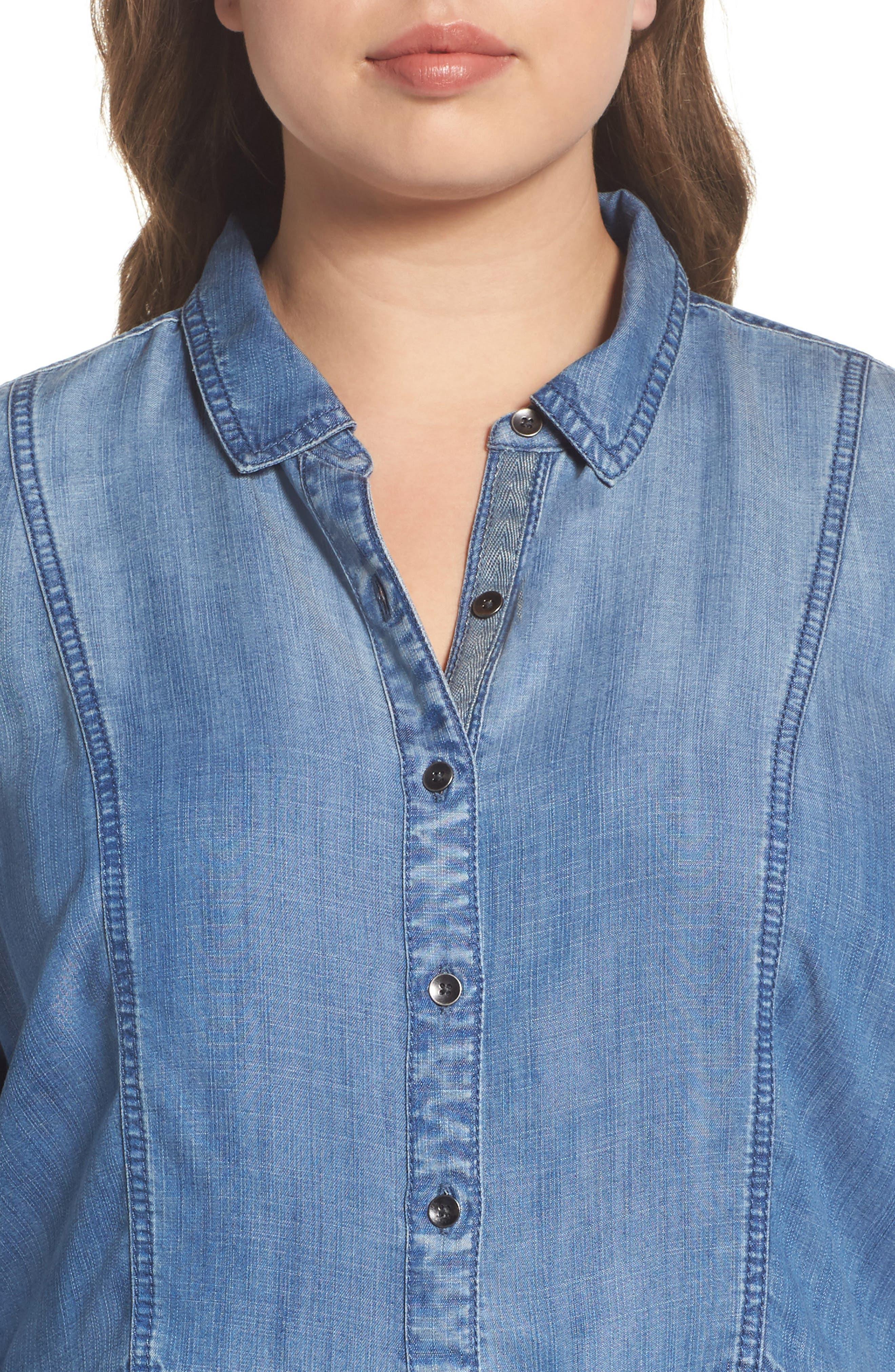 Alternate Image 4  - Caslon® Peplum Denim Shirt (Plus Size)