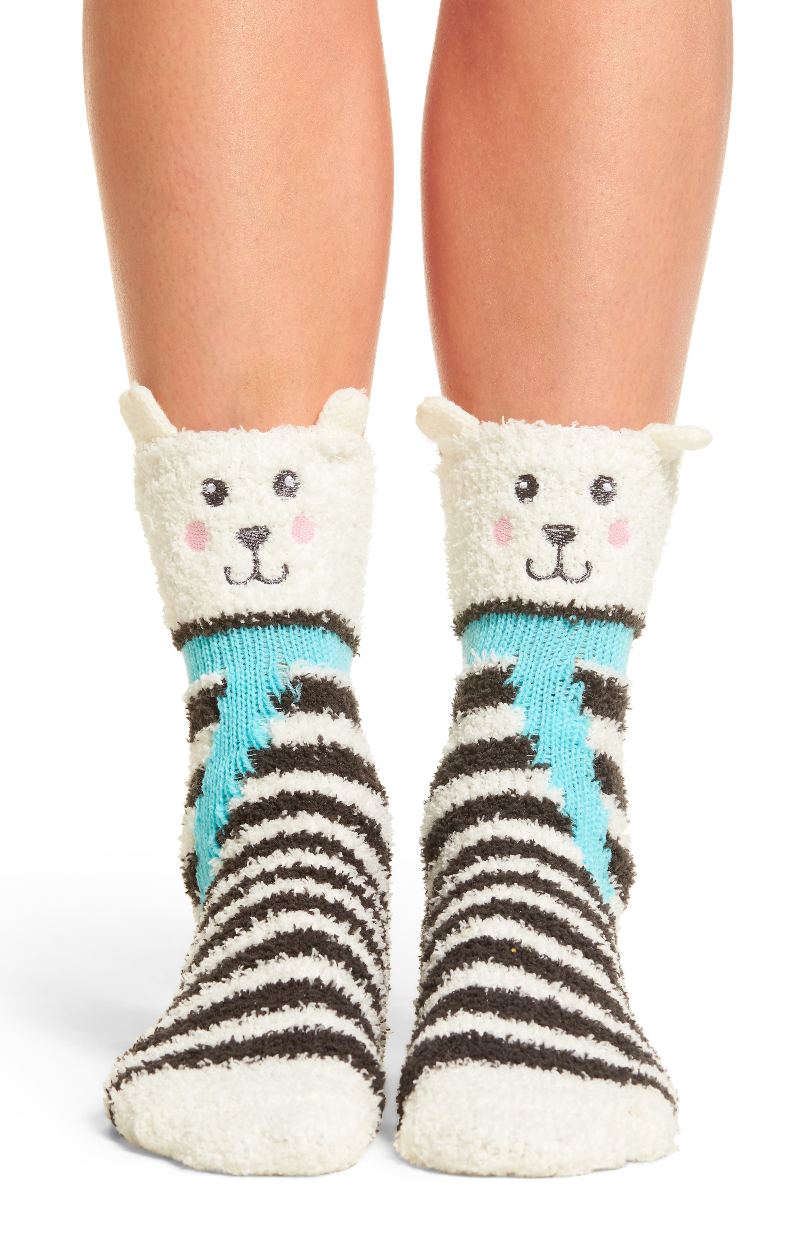 Stripe Plush Socks,                         Main,                         color, Charcoal Polar Bear