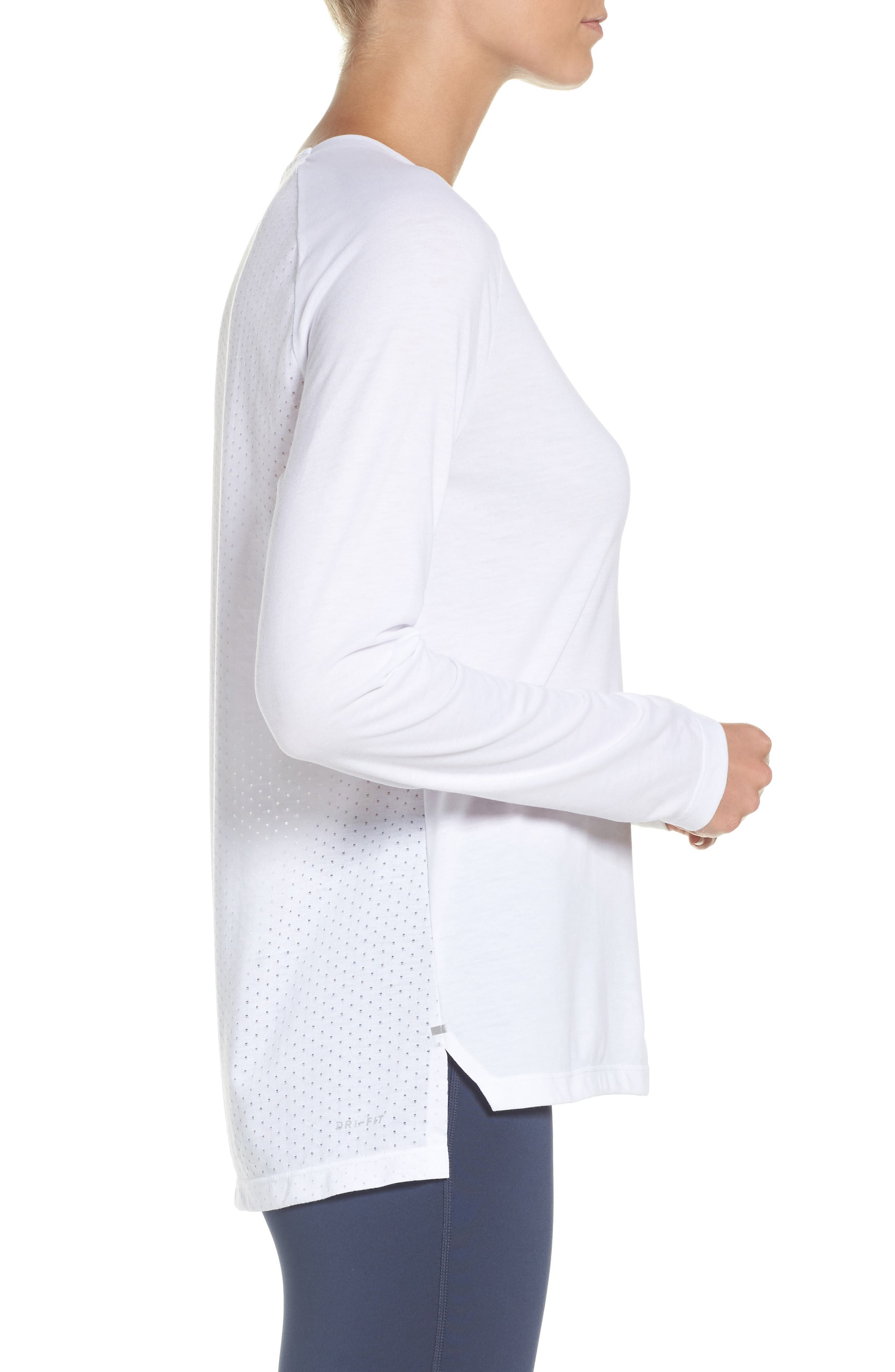 Breathe Tailwind Running Top,                             Alternate thumbnail 3, color,                             White