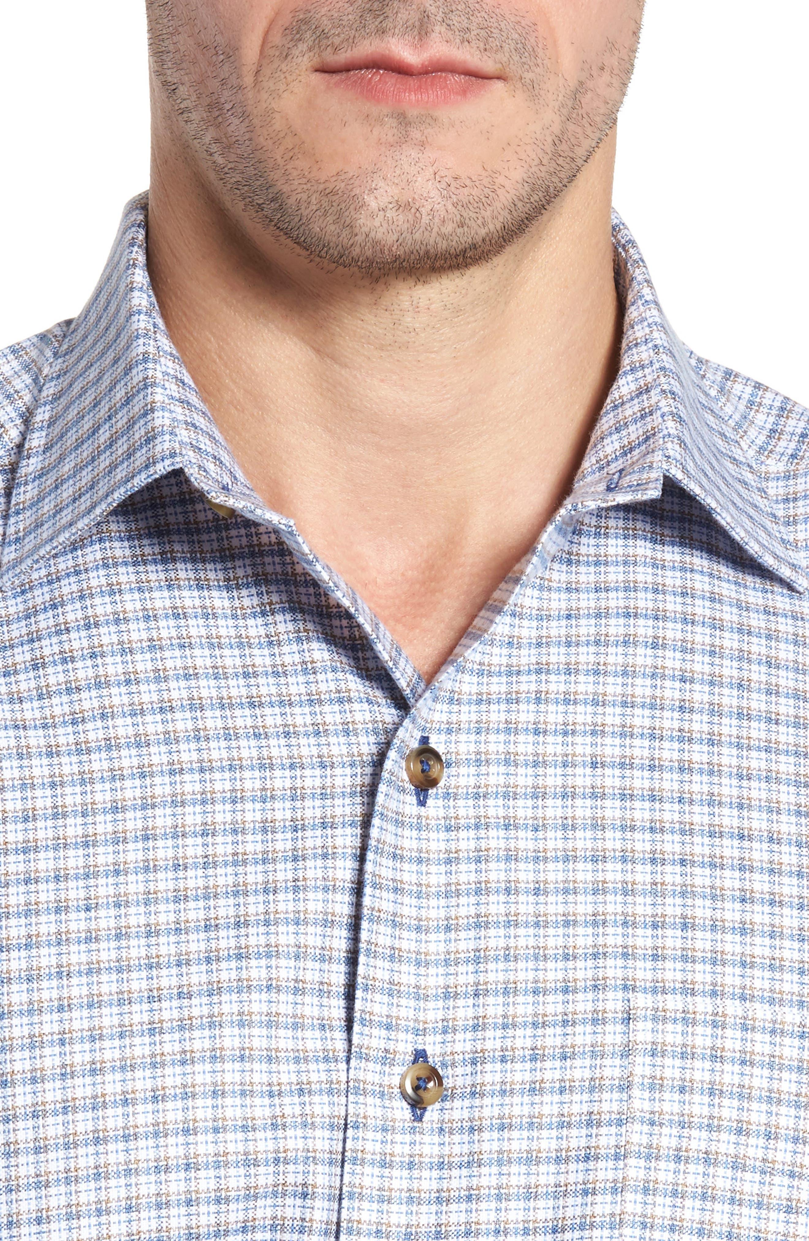 Regular Fit Plaid Sport Shirt,                             Alternate thumbnail 4, color,                             Blue