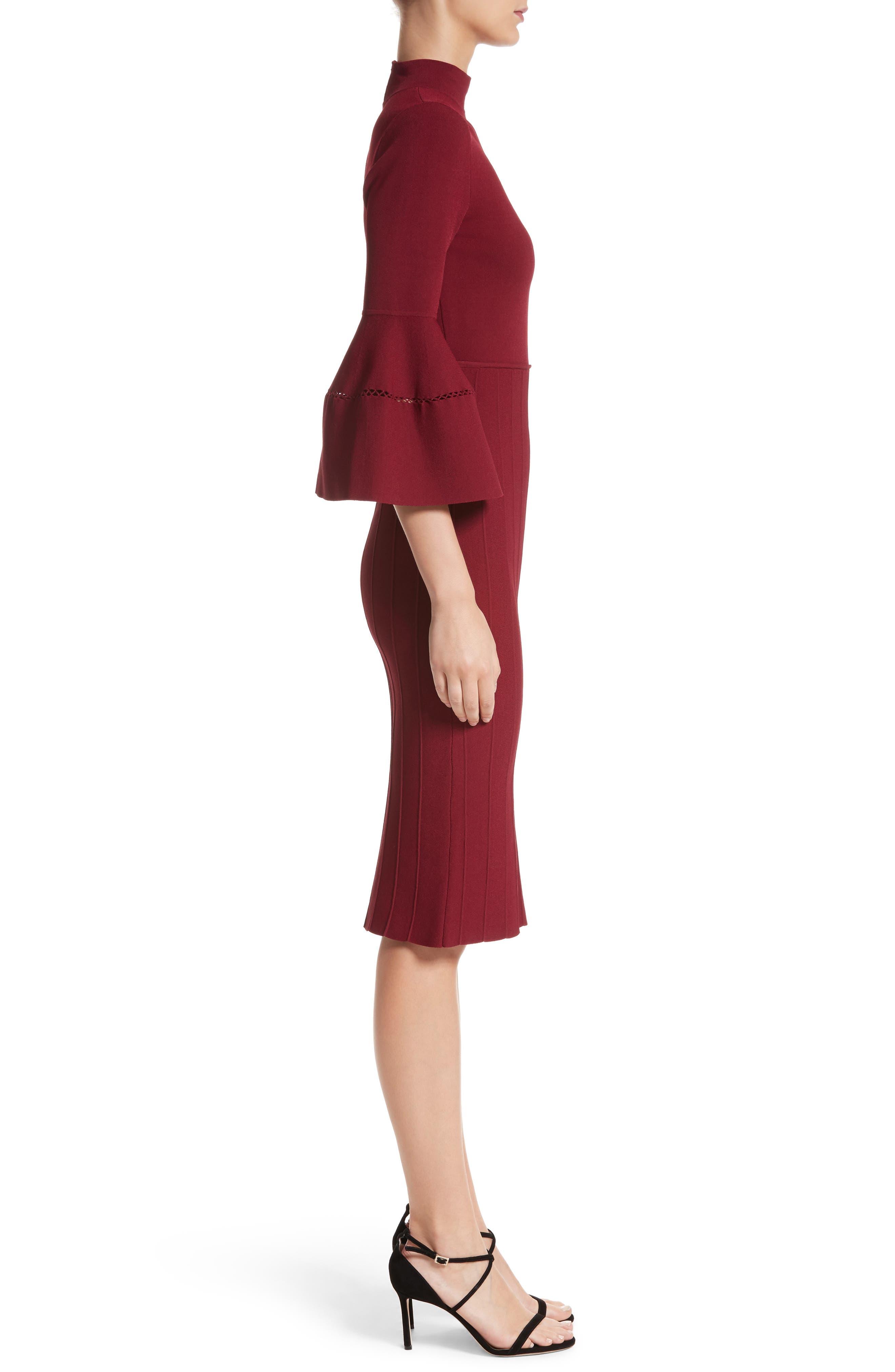 Alternate Image 3  - Lela Rose Knit Bell Sleeve Dress