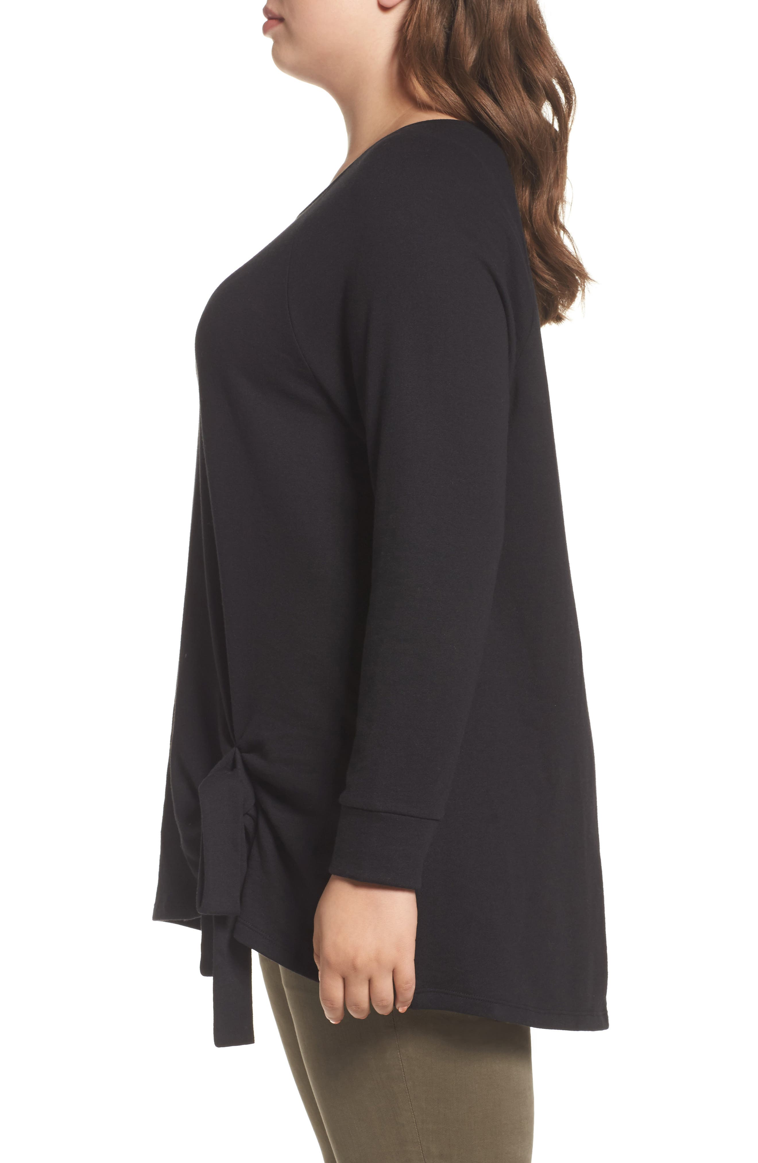 Alternate Image 3  - Caslon® Tie Knot Sweatshirt (Plus Size)