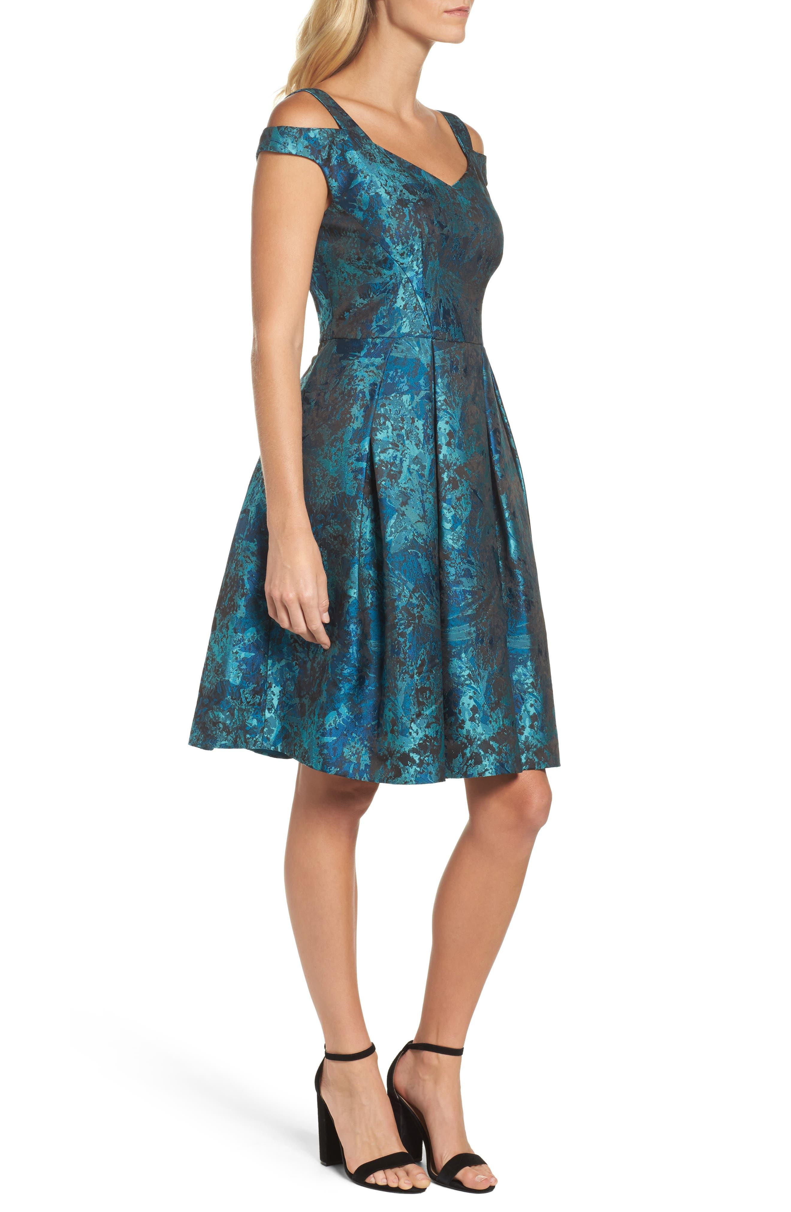 Cold Shoulder Brocade Dress,                             Alternate thumbnail 3, color,                             Black/ Emerald