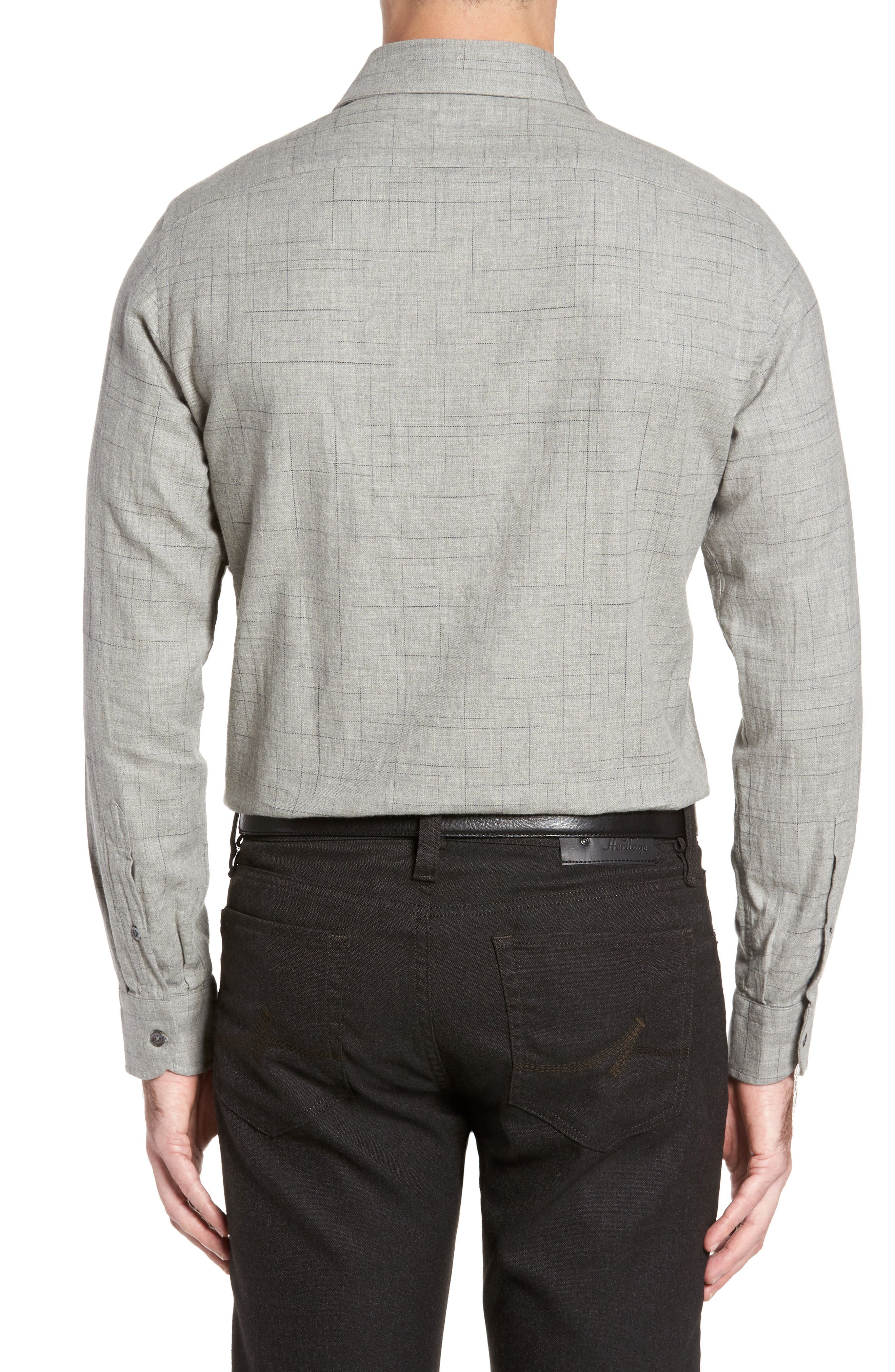 Broken Plaid Sport Shirt,                             Alternate thumbnail 2, color,                             Light Grey