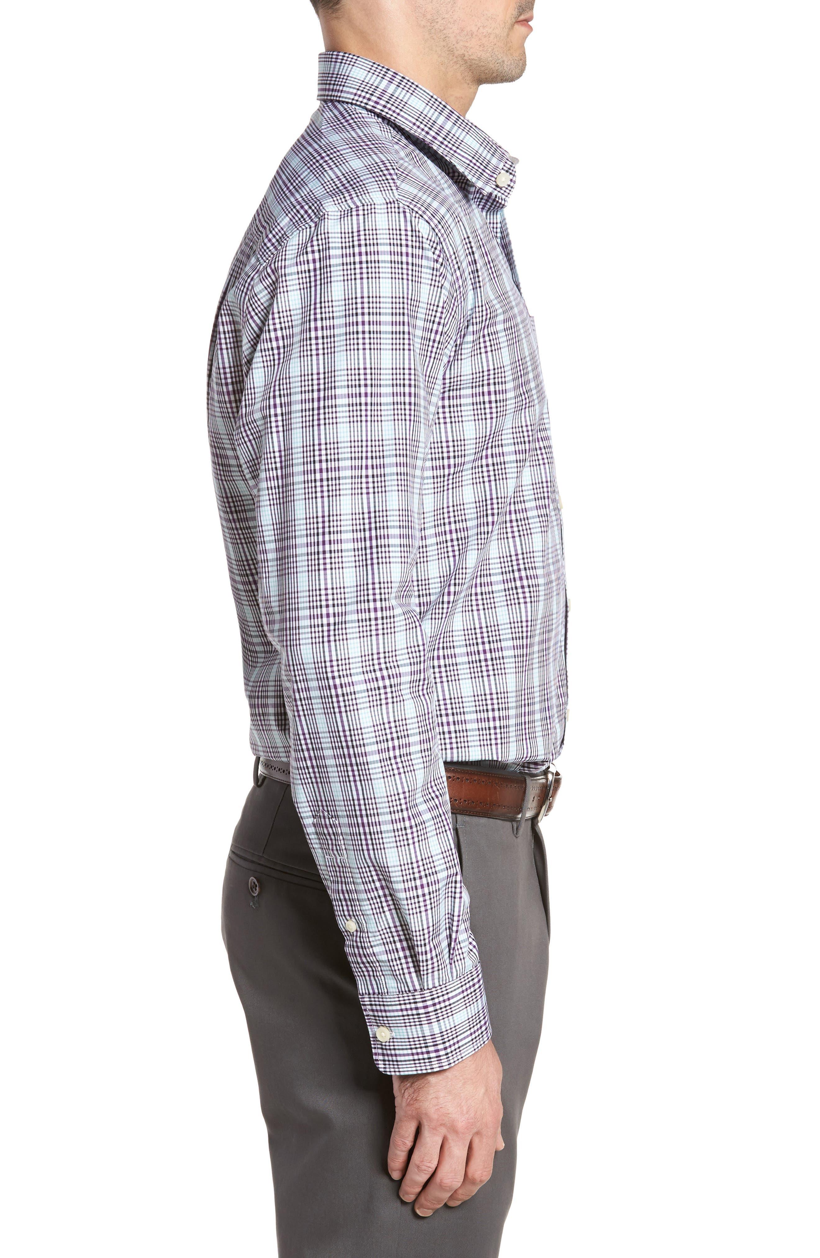 Hoyt Non-Iron Plaid Sport Shirt,                             Alternate thumbnail 3, color,                             Majesty