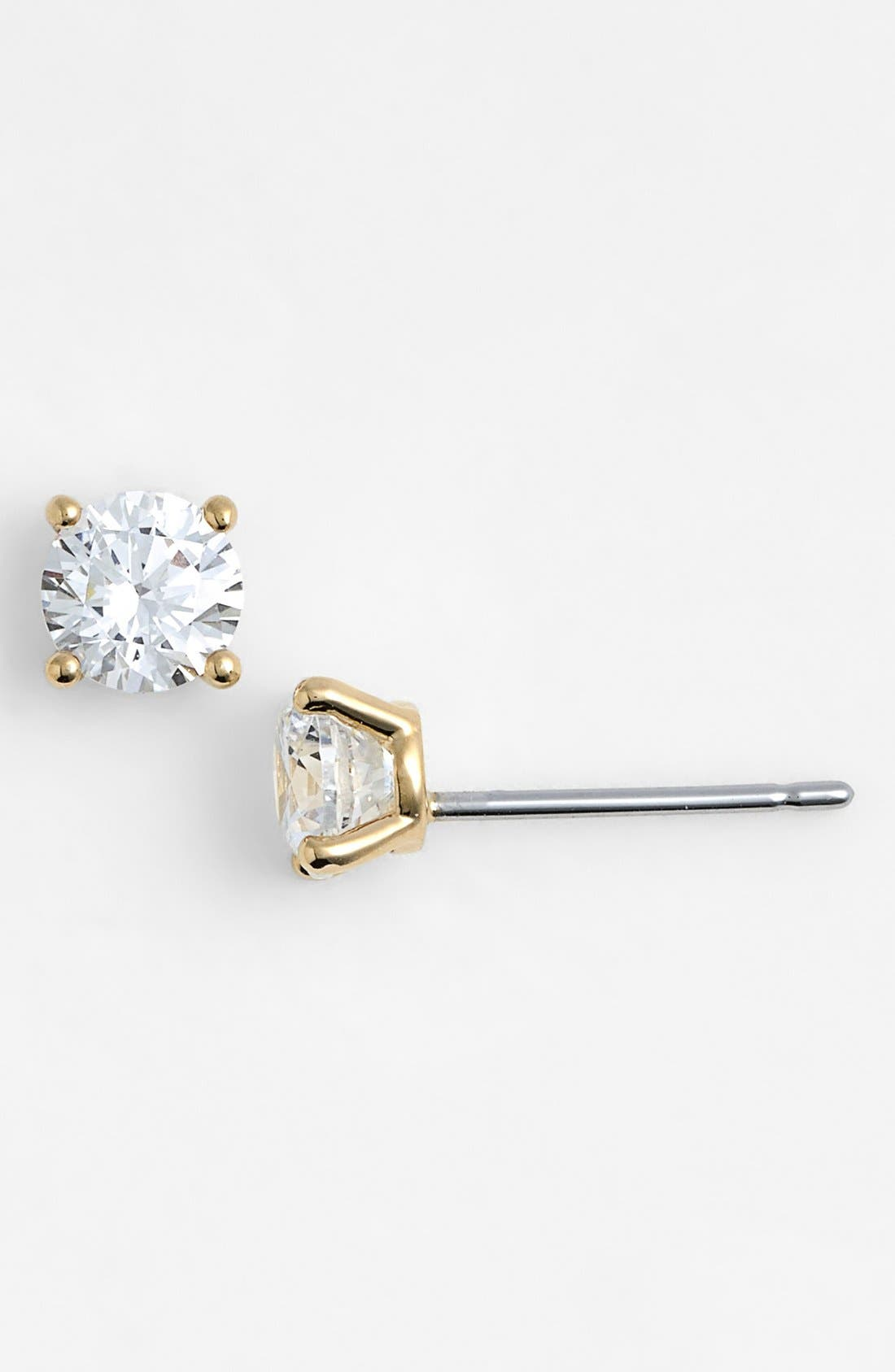 Cubic Zirconia Stud Earrings,                         Main,                         color, Gold