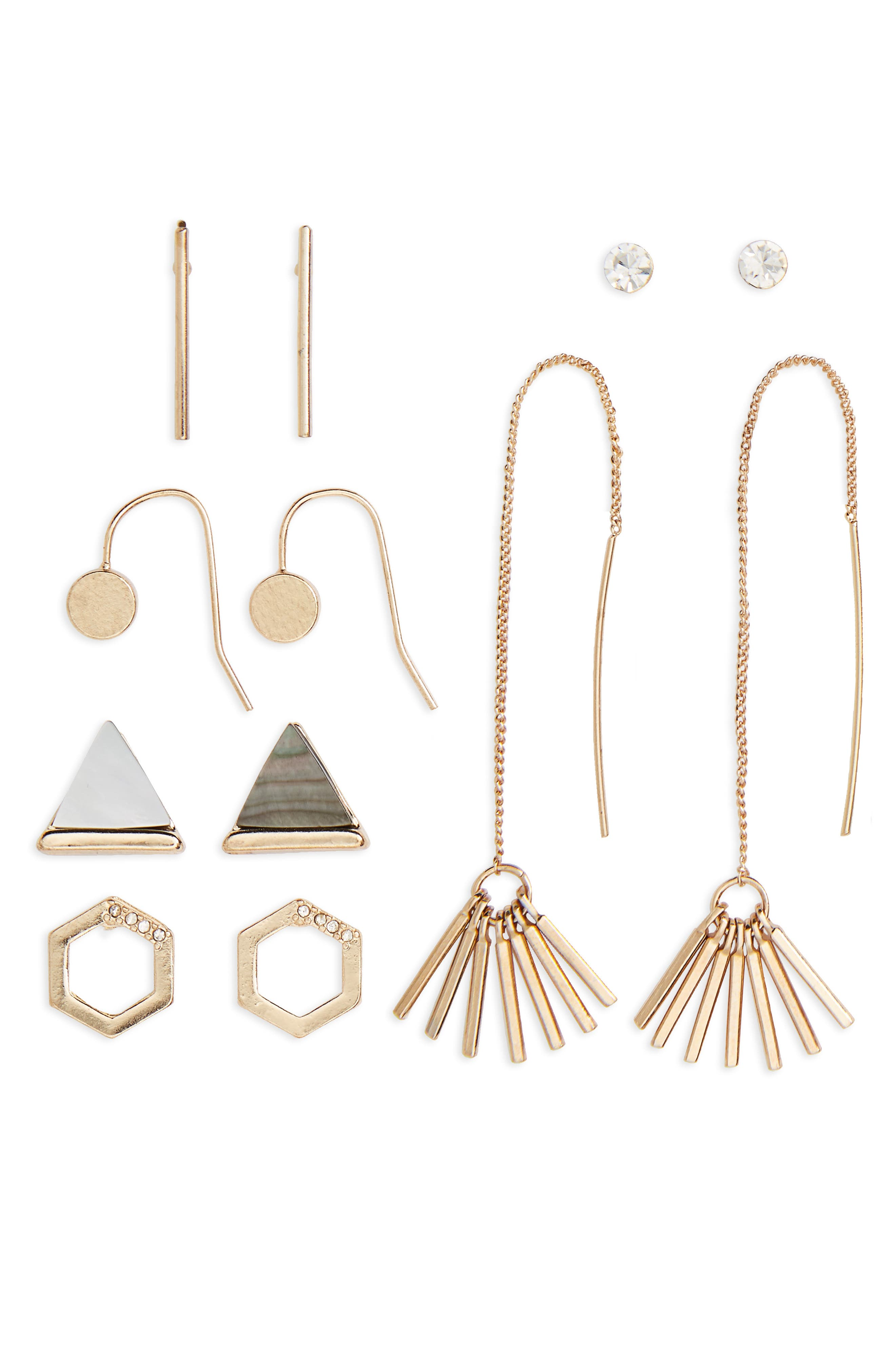 6-Pack Geometric Earrings,                         Main,                         color, Gold/ Crystal/ Stone