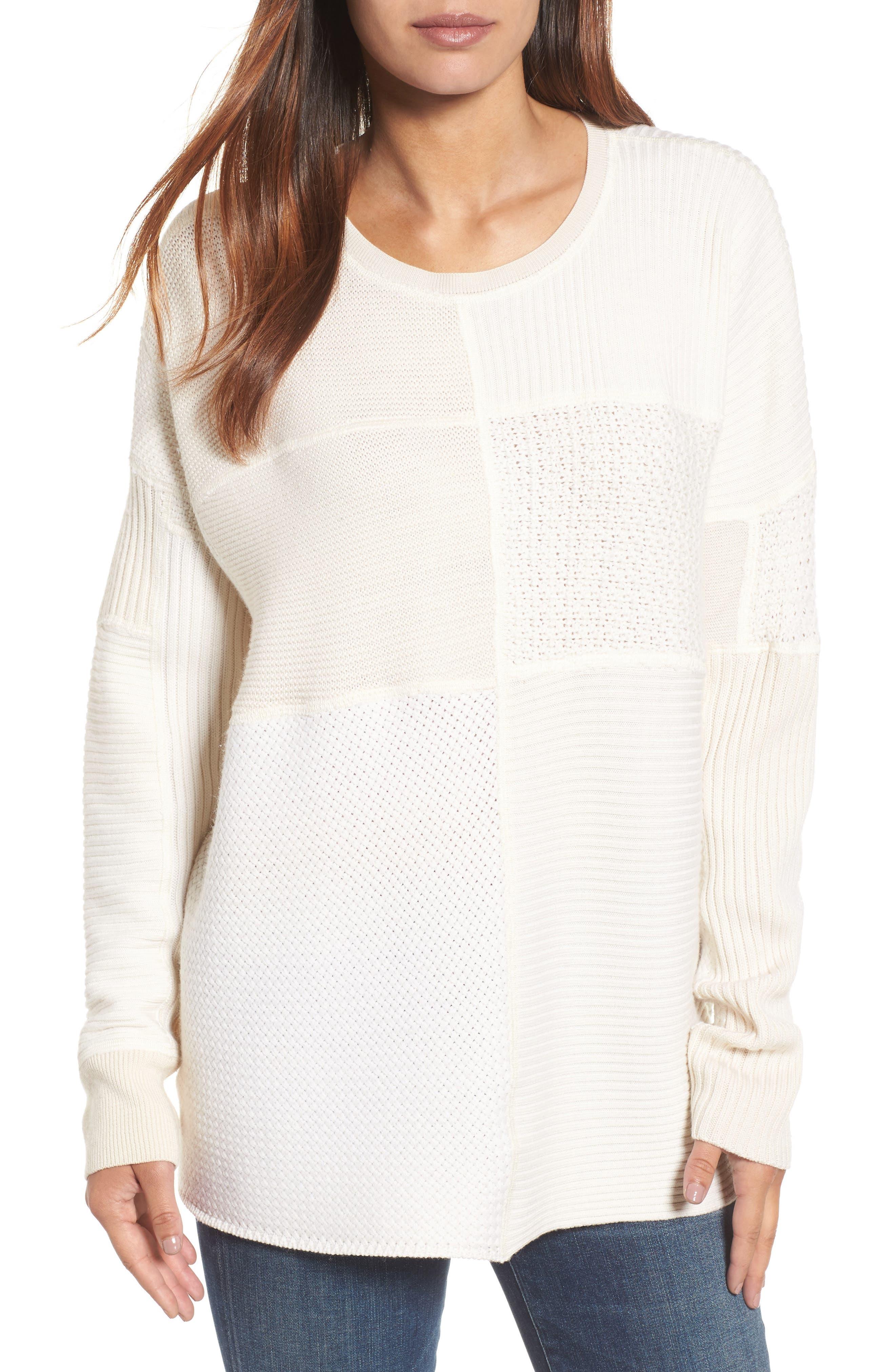 Eileen Fisher Patchwork Wool Sweater (Nordstrom Exclusive)