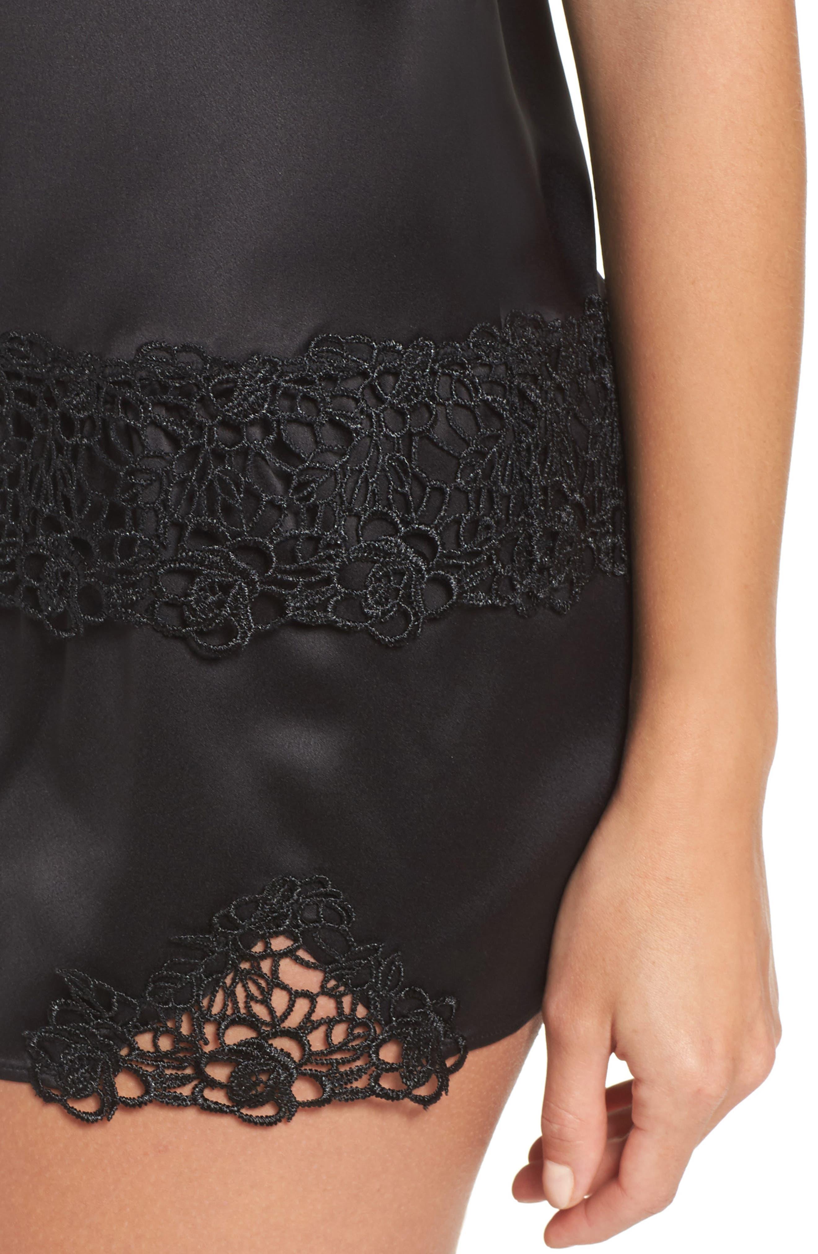 Jacquelyne Charm Satin Short Pajamas,                             Alternate thumbnail 4, color,                             Black
